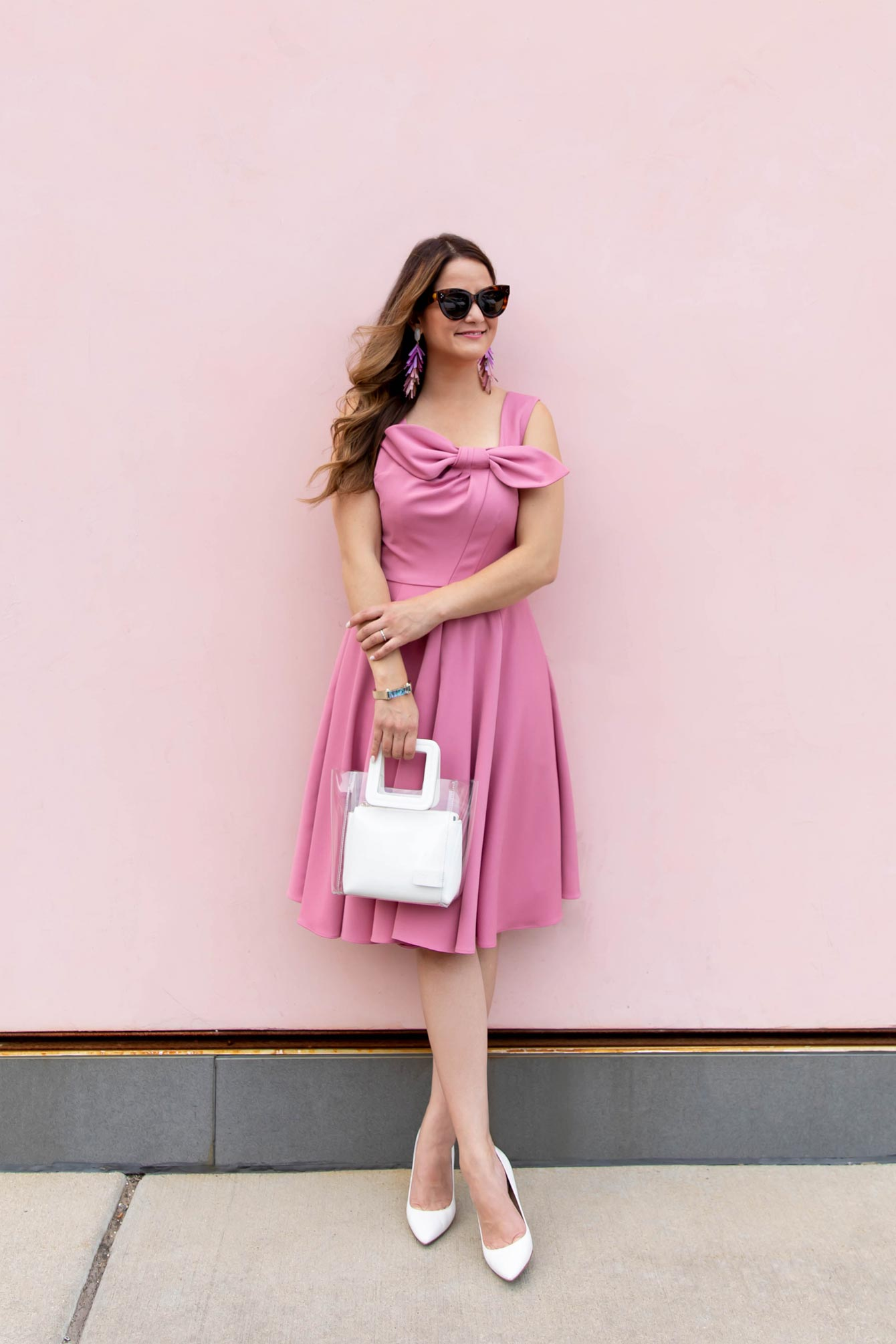 Gal Meets Glam Pink Bow Dress