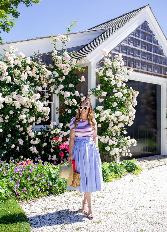Blue Chambray Tie Waist Midi Skirt on Nantucket