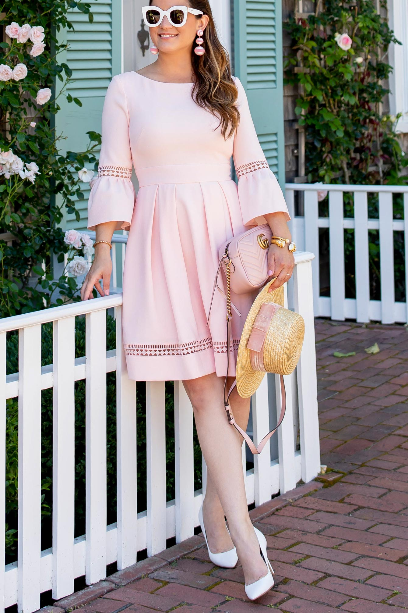 Blush Bell Sleeve Fit And Flare Dress From Eliza J On