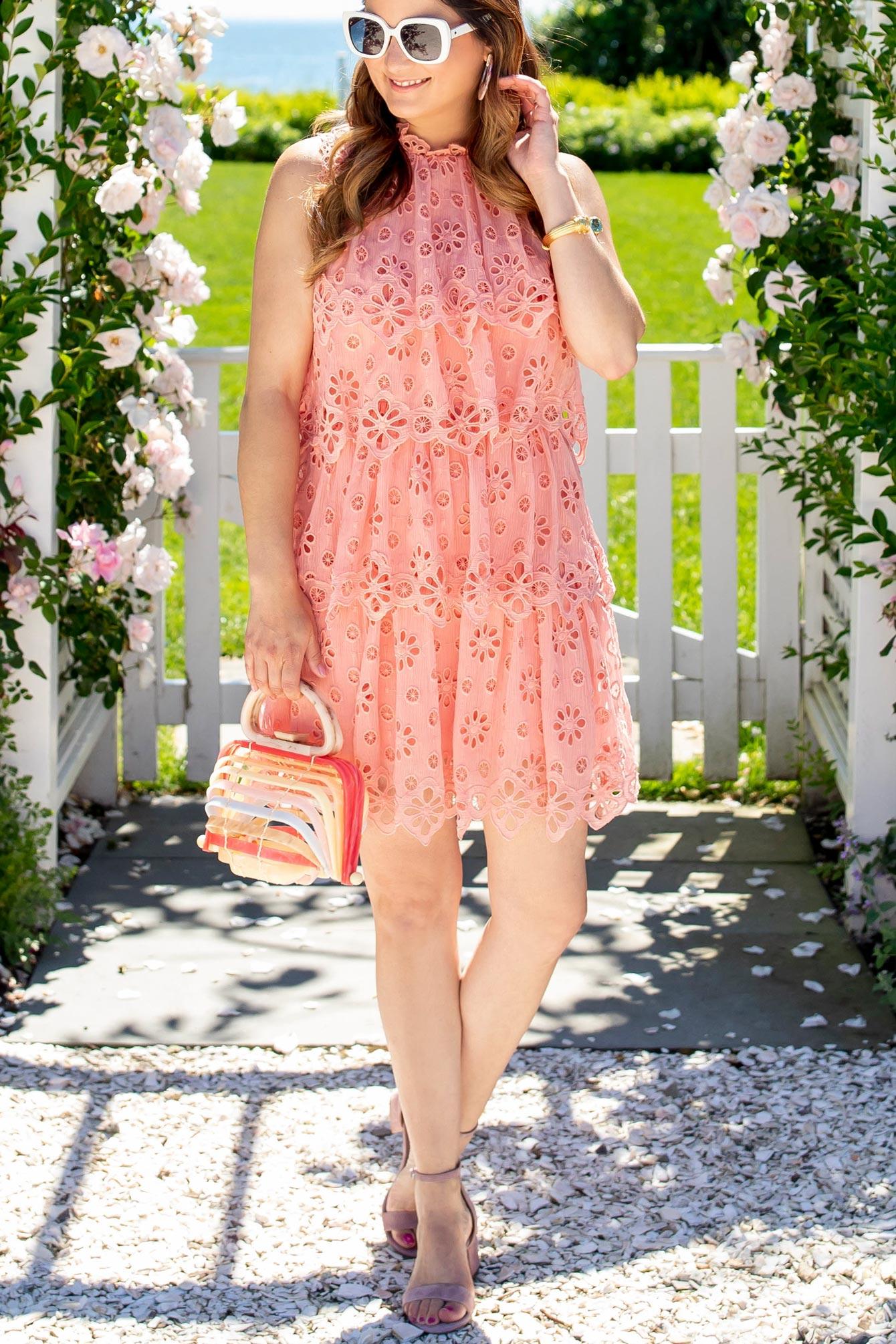 Pink Tiered Eyelet Dress