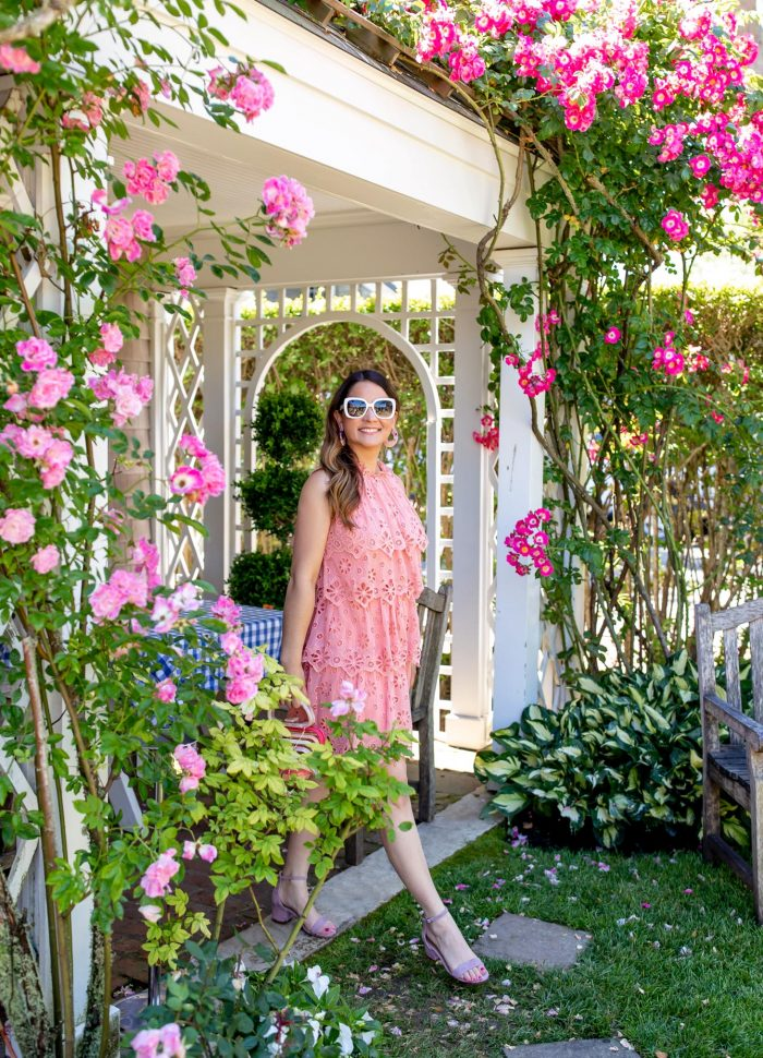 Pink Tiered Eyelet Minidress on Nantucket