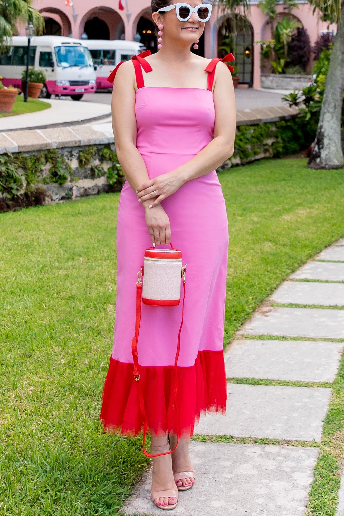 Staud Red Pink Dress