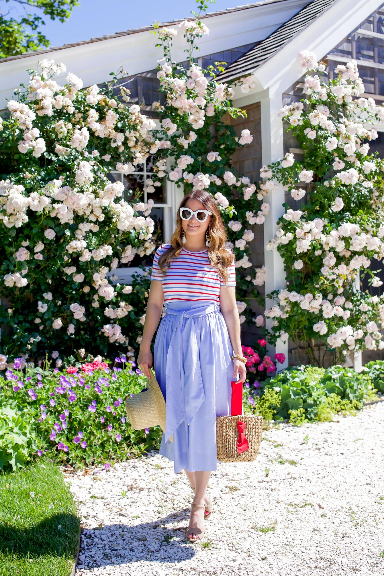 Style Charade Blue Chambray Tie Waist Midi Skirt