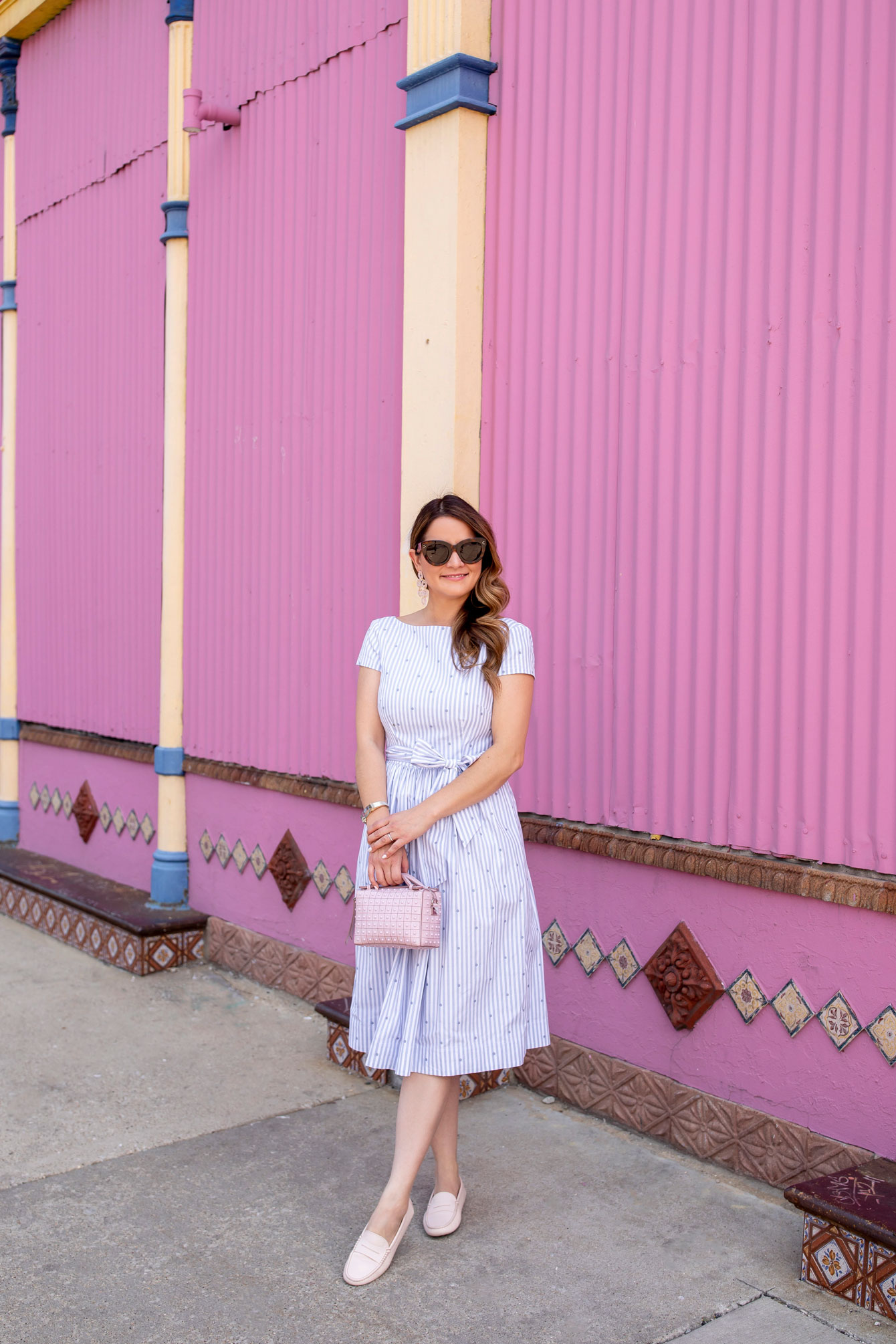 1901 Stripe Polka Dot Dress
