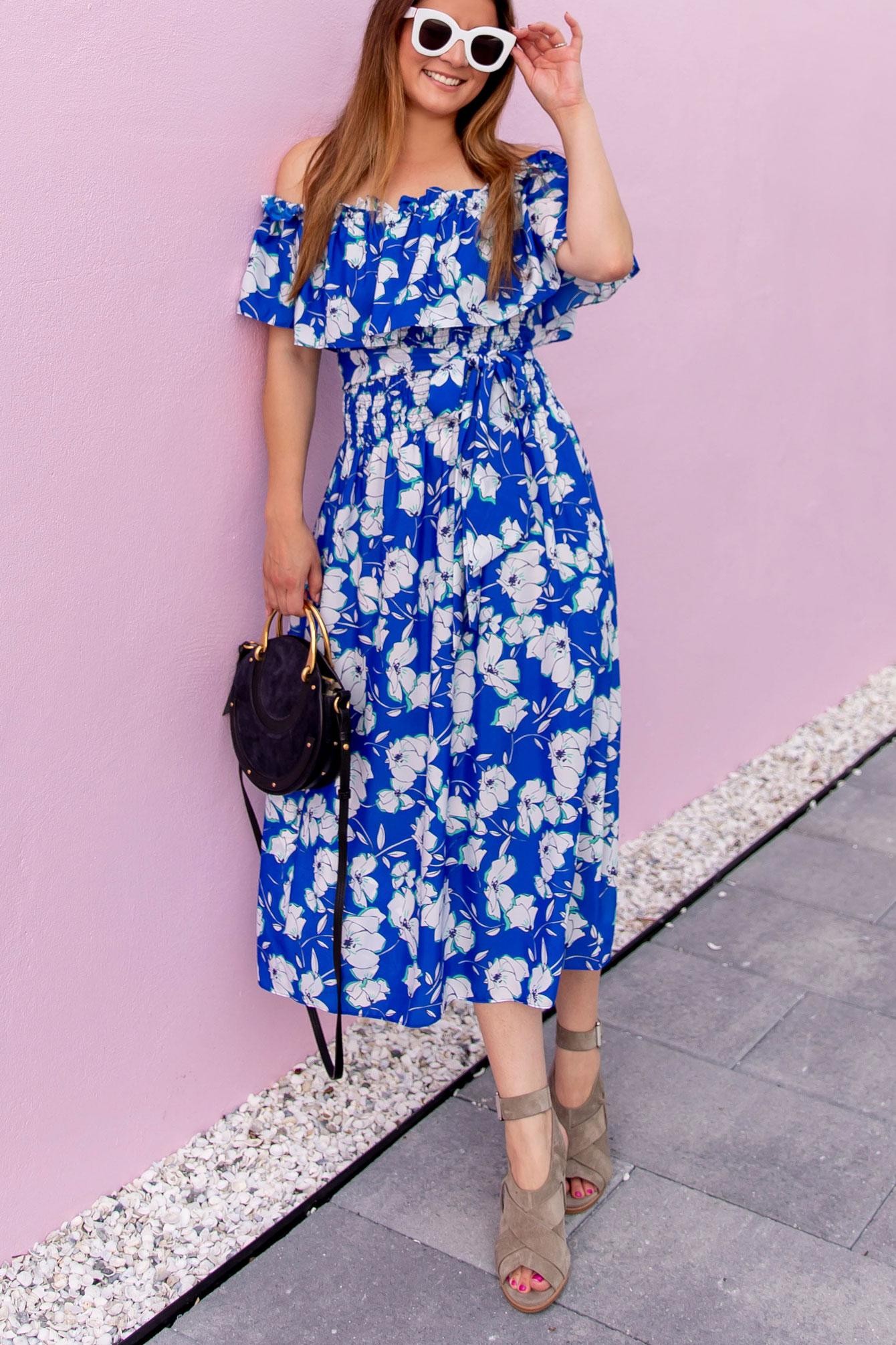 Blue White Off Shoulder Dress