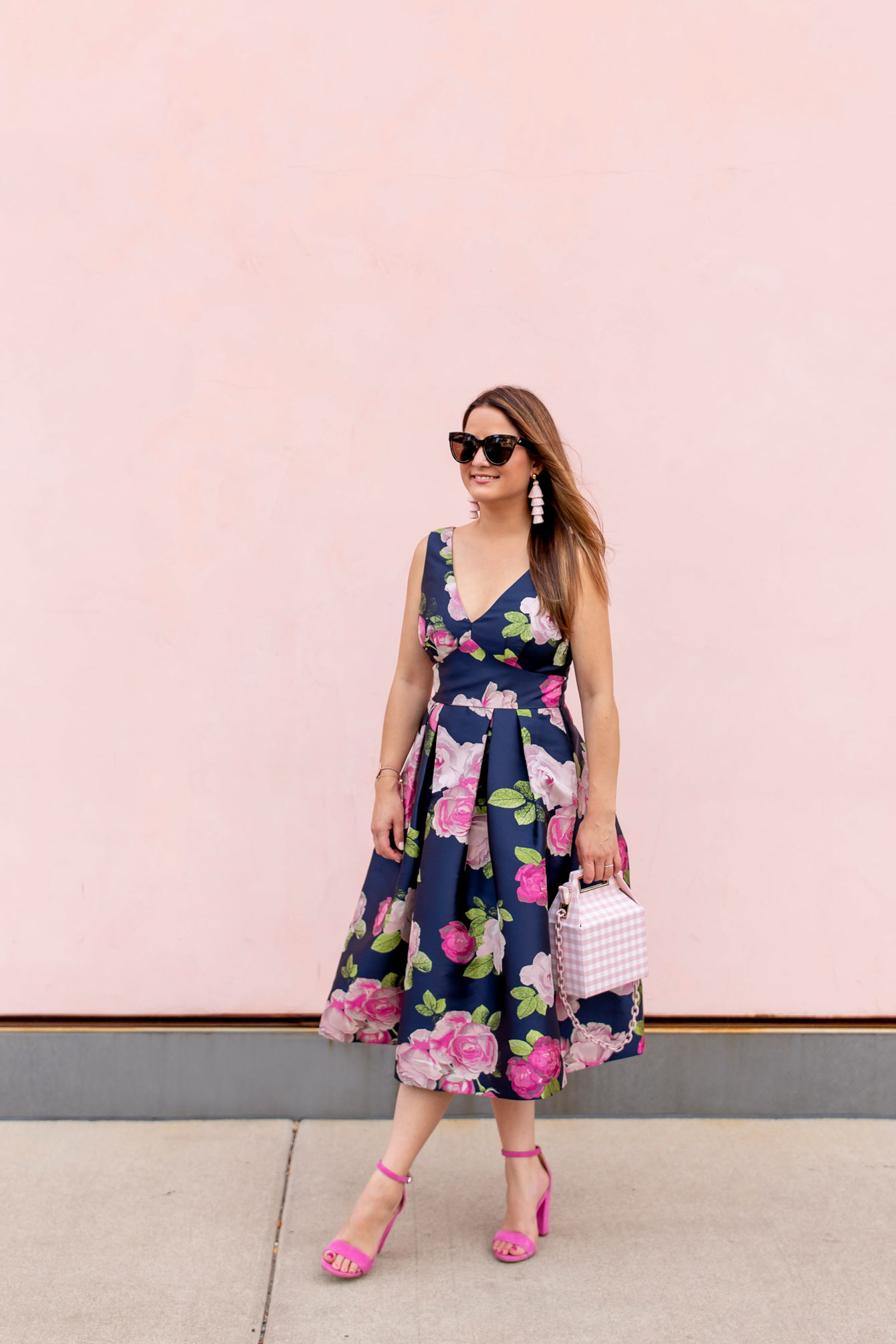 Eliza J Pink Navy Floral Dress
