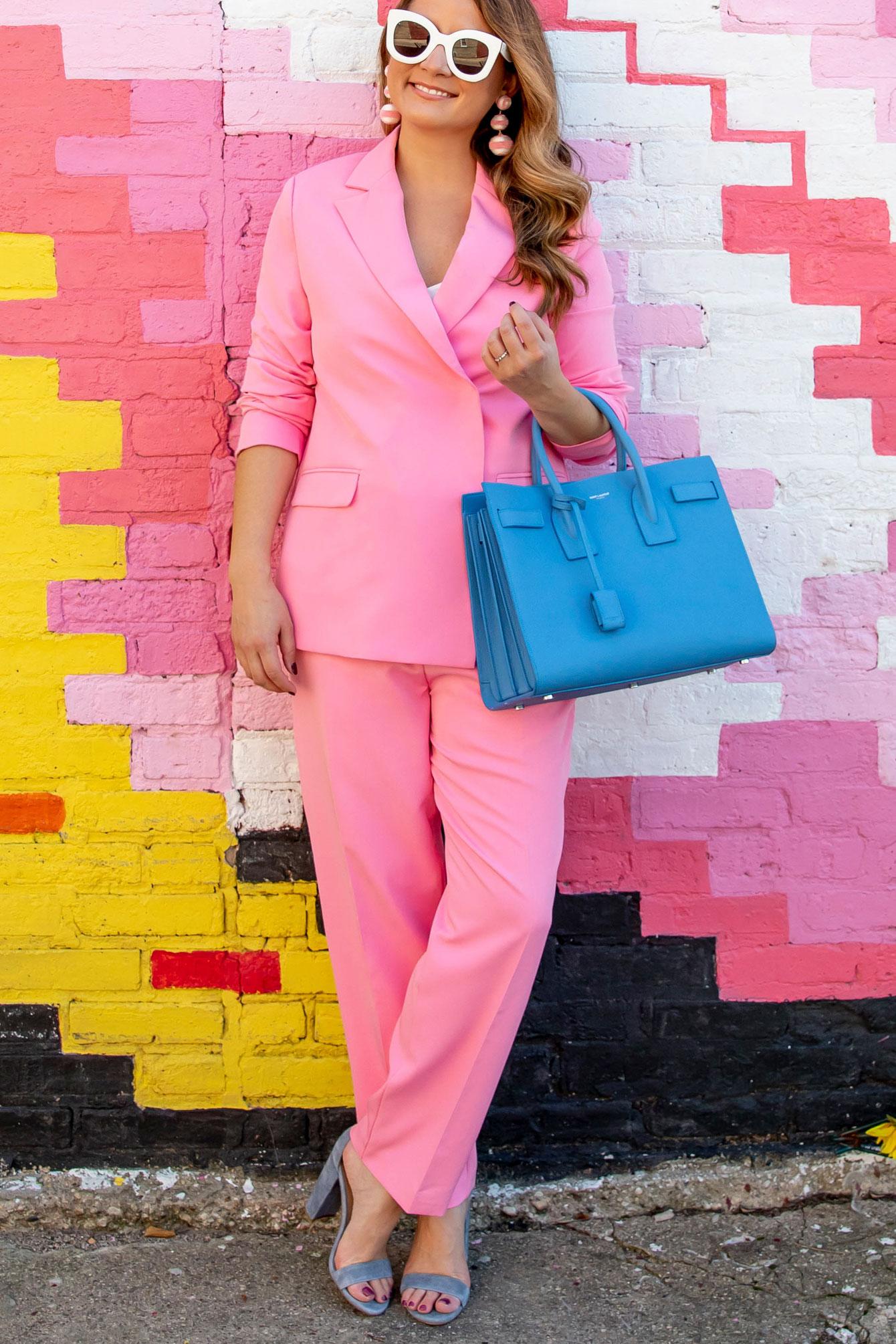 Jennifer Lake Affordable Pink Suit