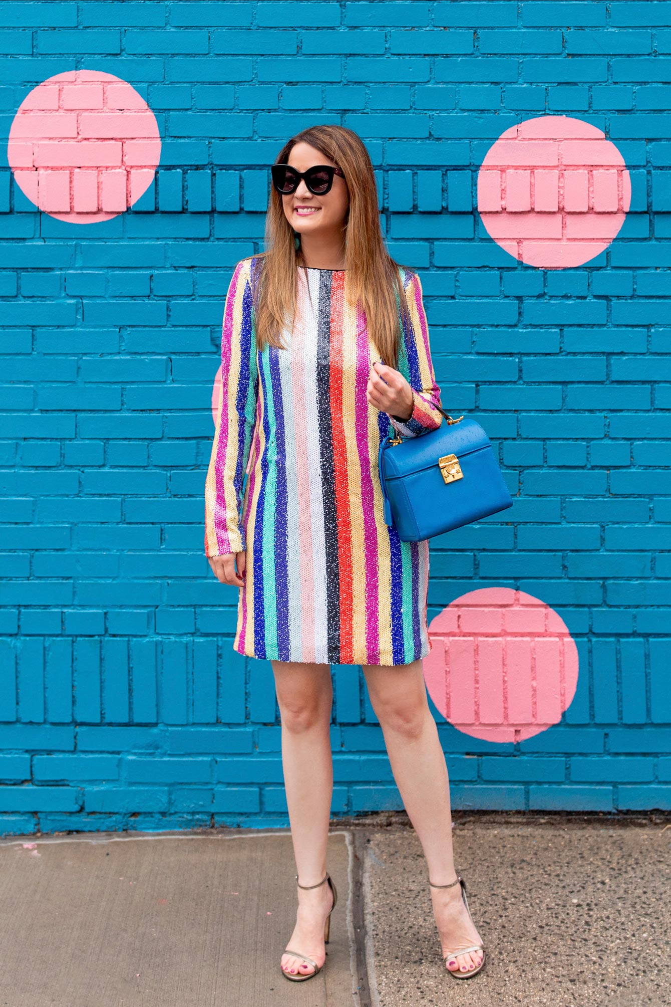 Jennifer Lake Sequin Stripe Dress