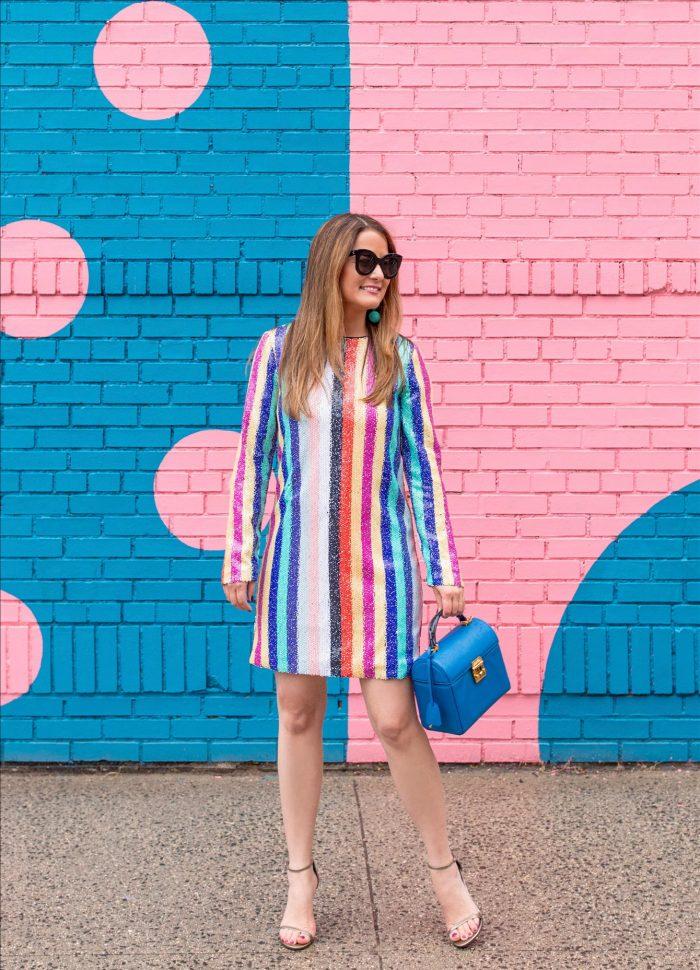 My Favorite Rainbow Sequin Stripe Mini Dress