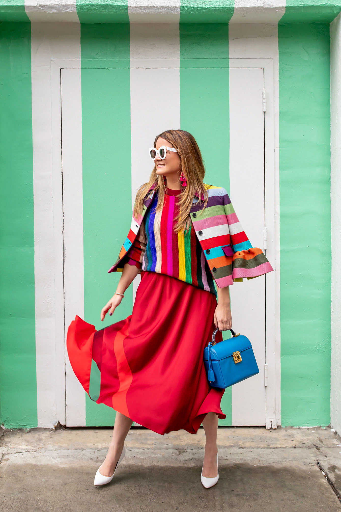 Milly Red Stripe Midi Skirt