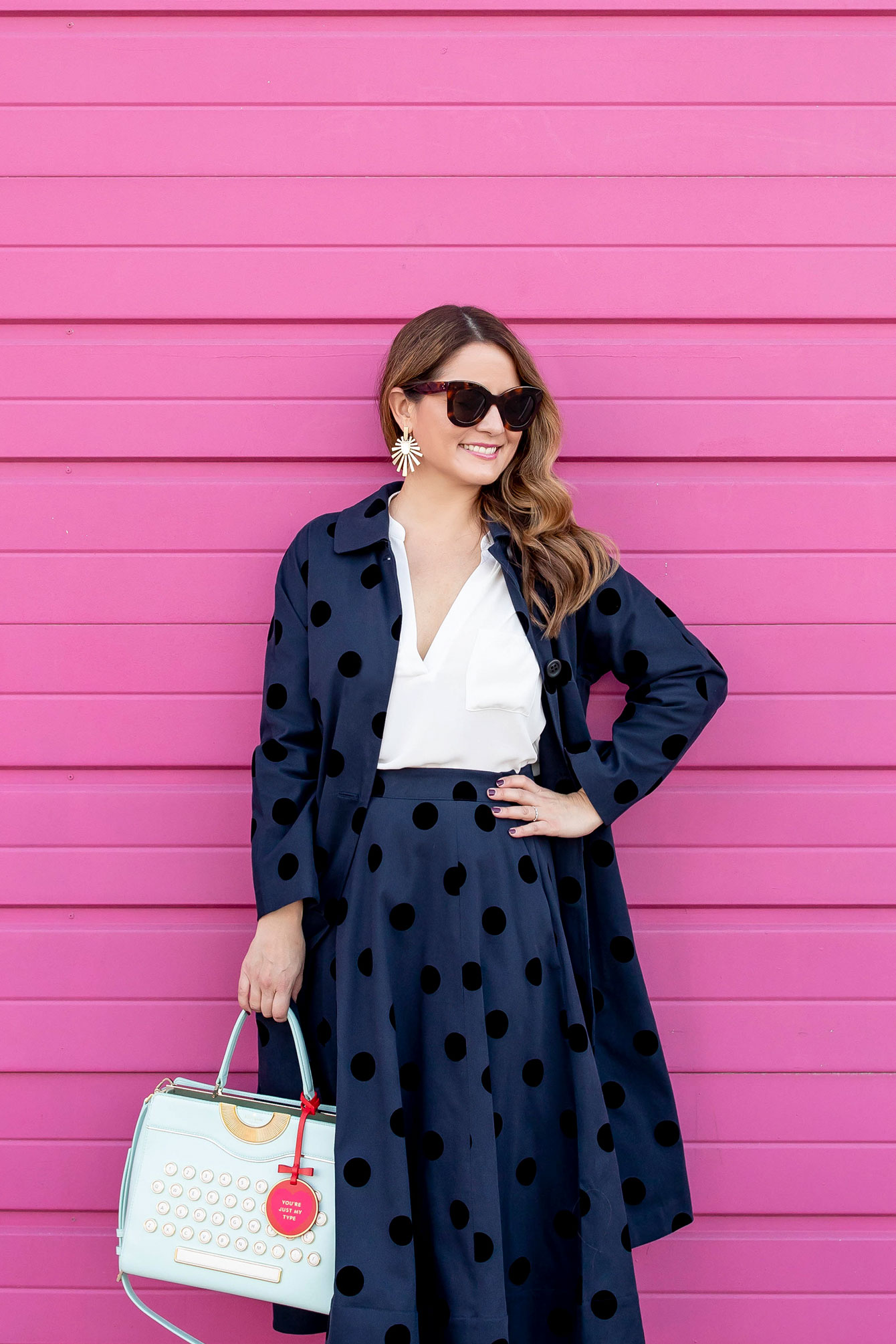 Navy Black Polka Dot Outfit