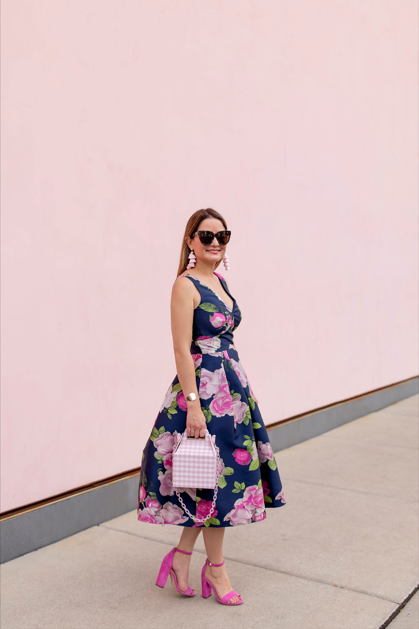 Navy Pink Floral Eliza J Dress