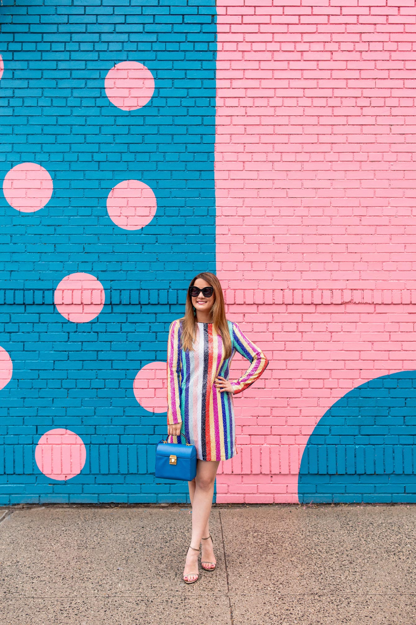 Pink Blue Polka Dot Mural New York