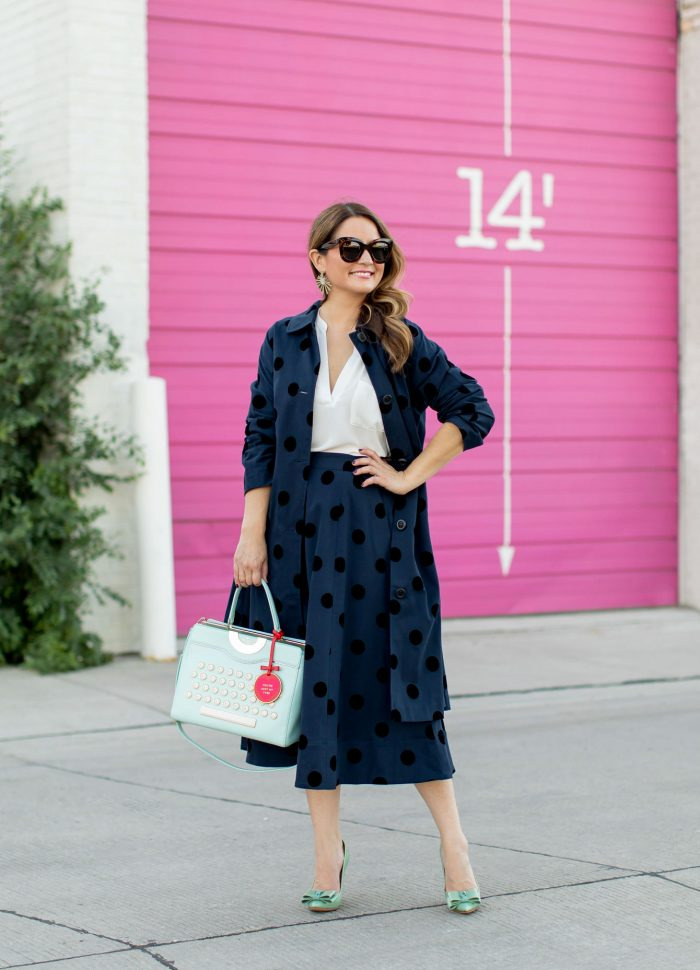 Navy Polka Dot Midi Skirt and Topcoat