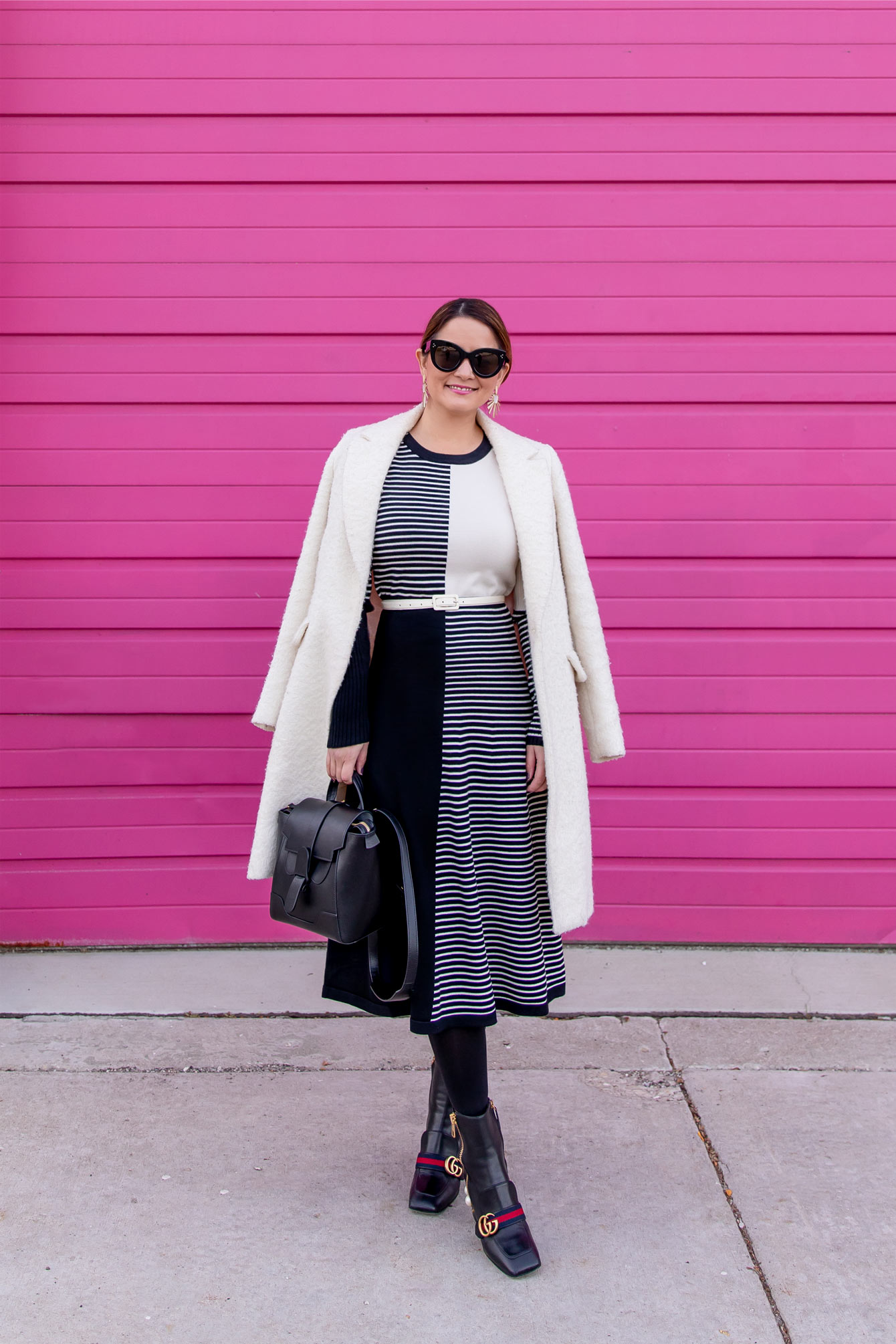 Black White Colorblock Sweater Dress