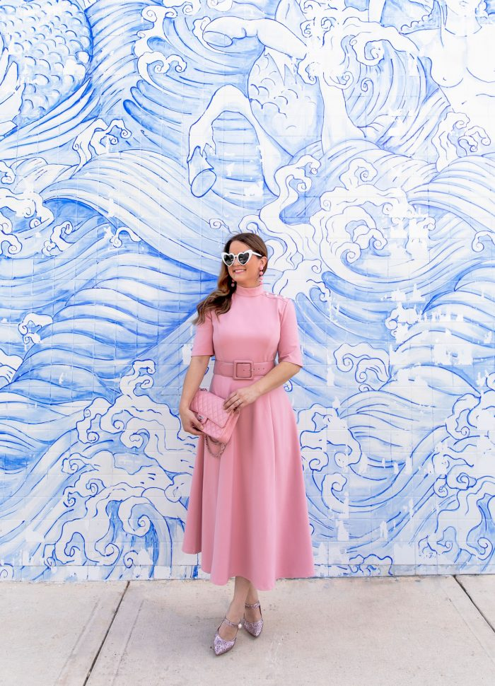 A Pink Fit and Flare Midi Dress at an Amazing Tile Mural