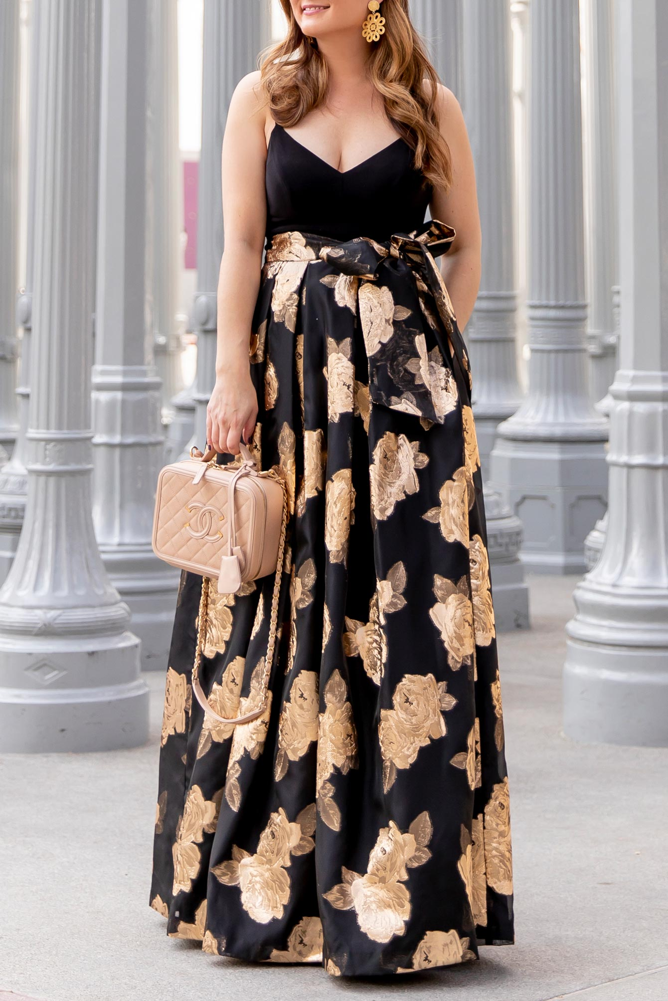 Eliza J Black Gold Jacquard Gown