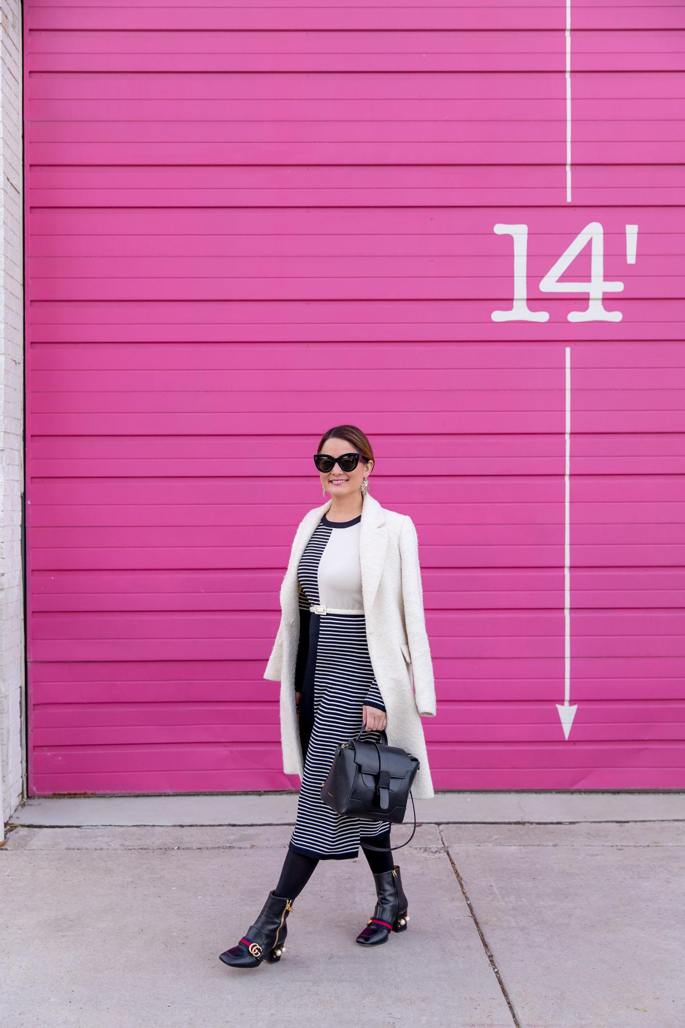 Eliza J Black Ivory Stripe Midi Sweater Dress