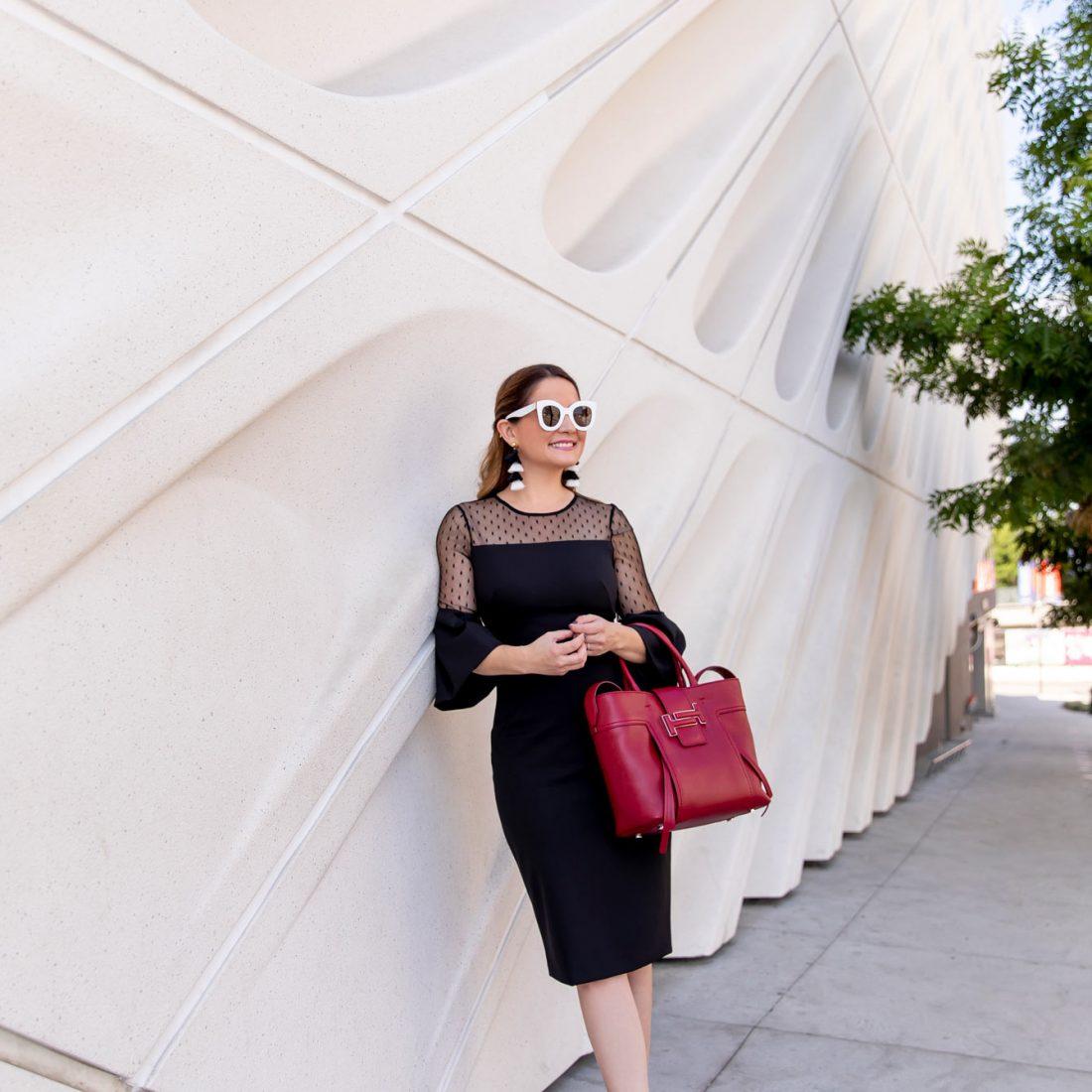 Eliza J Black Sheer Polka Dot Dress