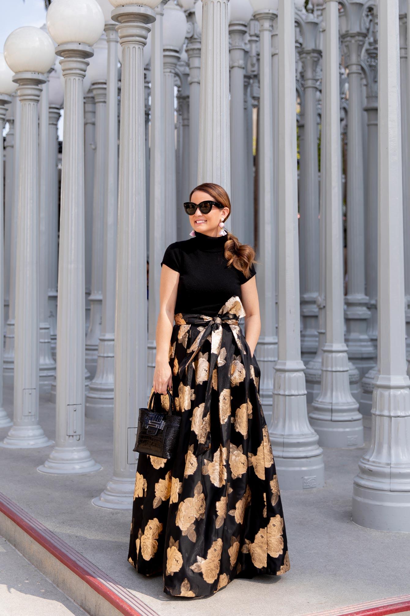 Eliza J Gold Floral Gown