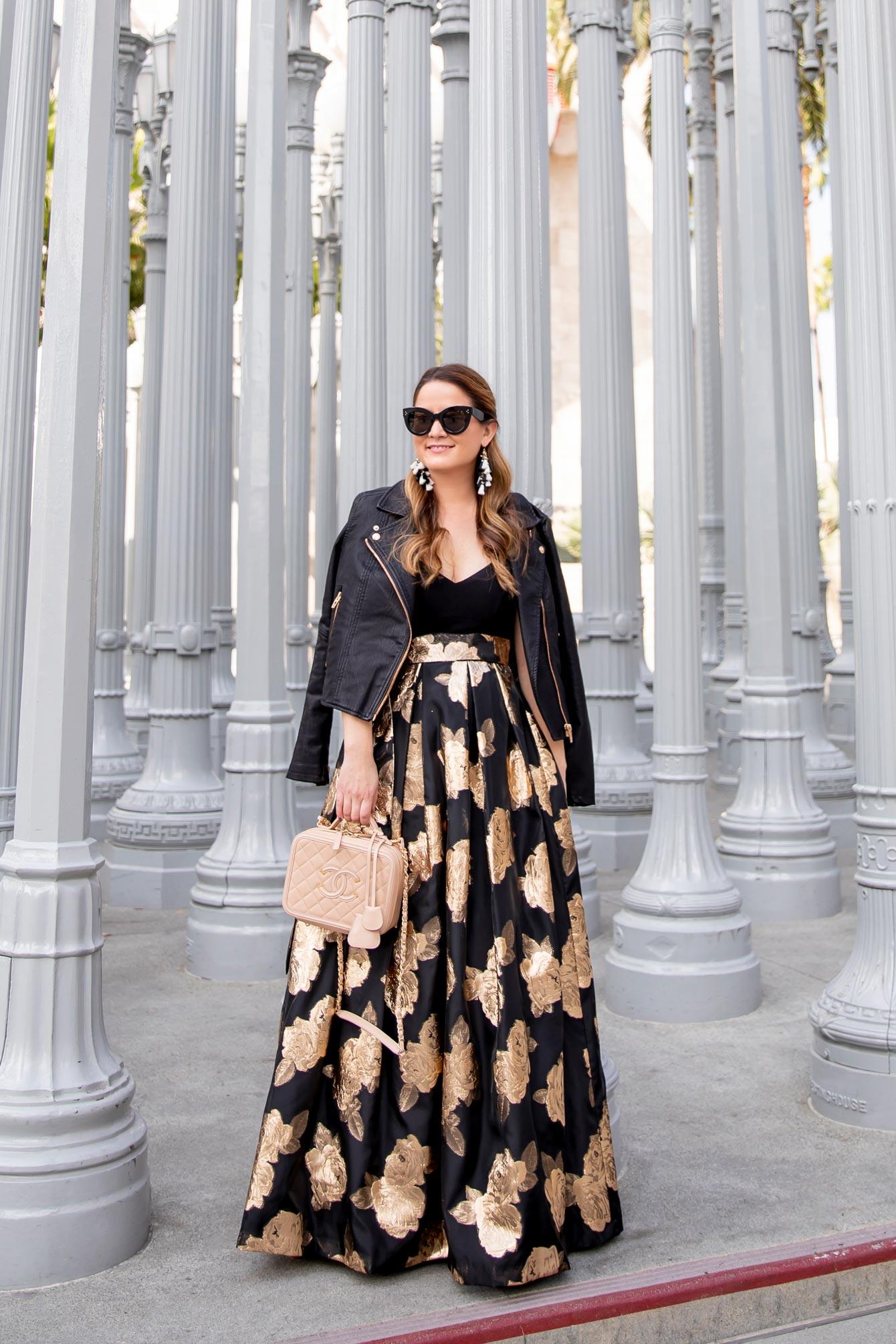 Eliza J Gold Jacquard Gown