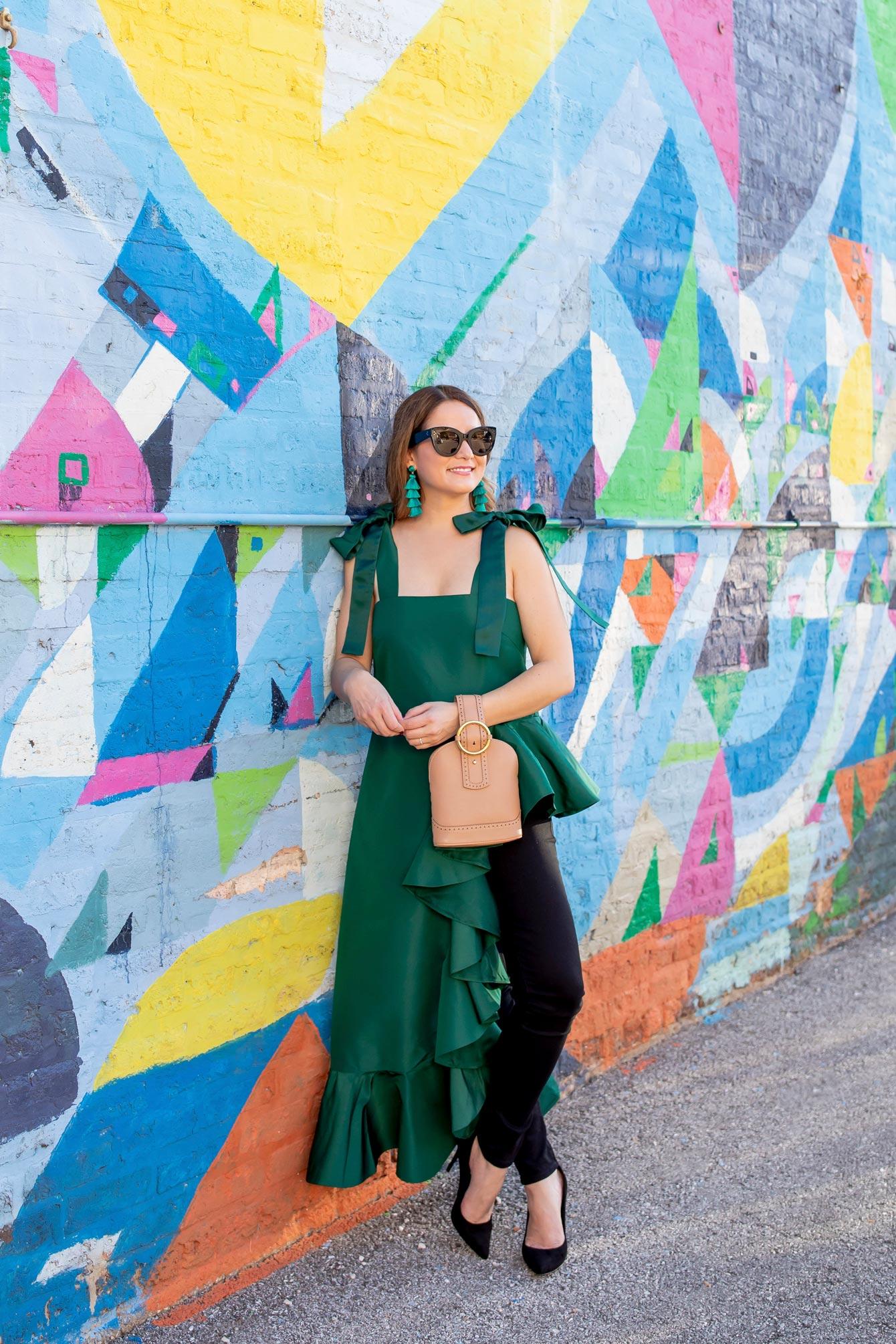 Emerald Green Ruffle Statement Top