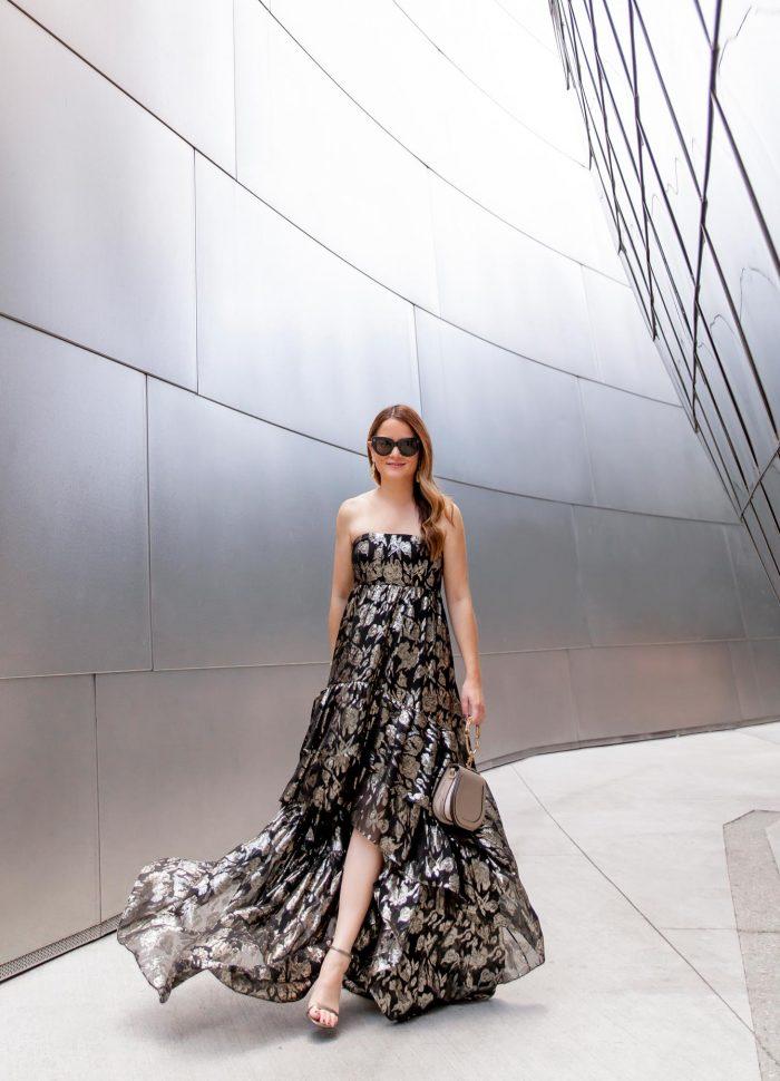 Mestiza Strapless Metallic Gown