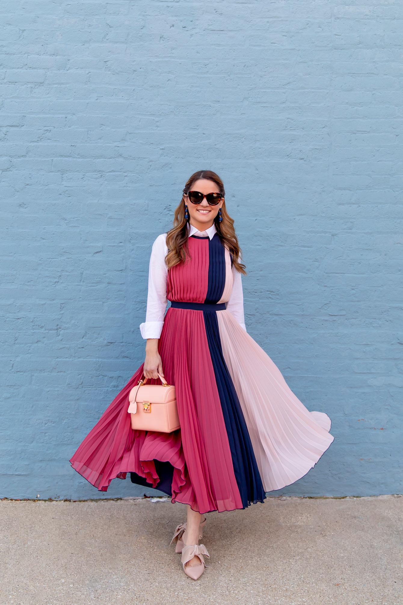 Jennifer Lake Navy Pink Pleated Dress