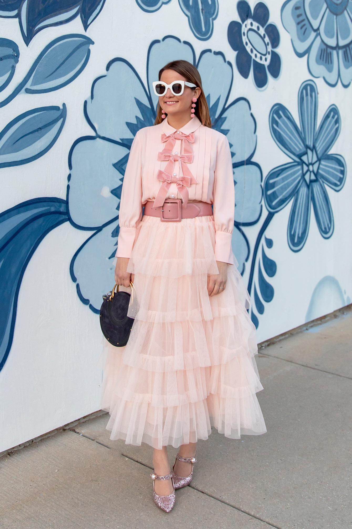 Jennifer Lake Pink Tulle Midi Skirt