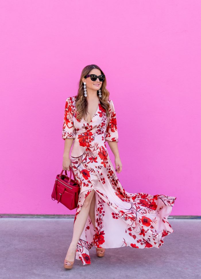 Pink Floral Maxi Dress at the Paul Smith Pink Wall