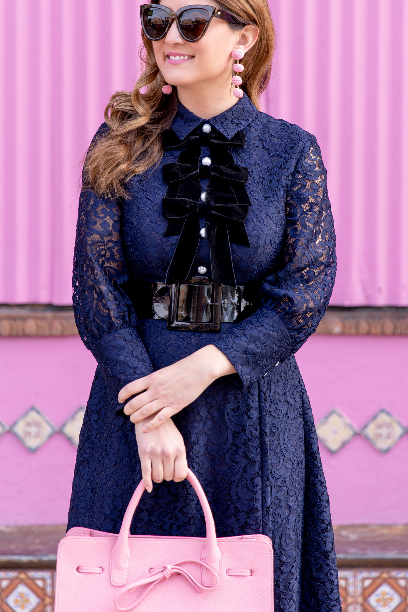 Navy Lace Bow Front Dress