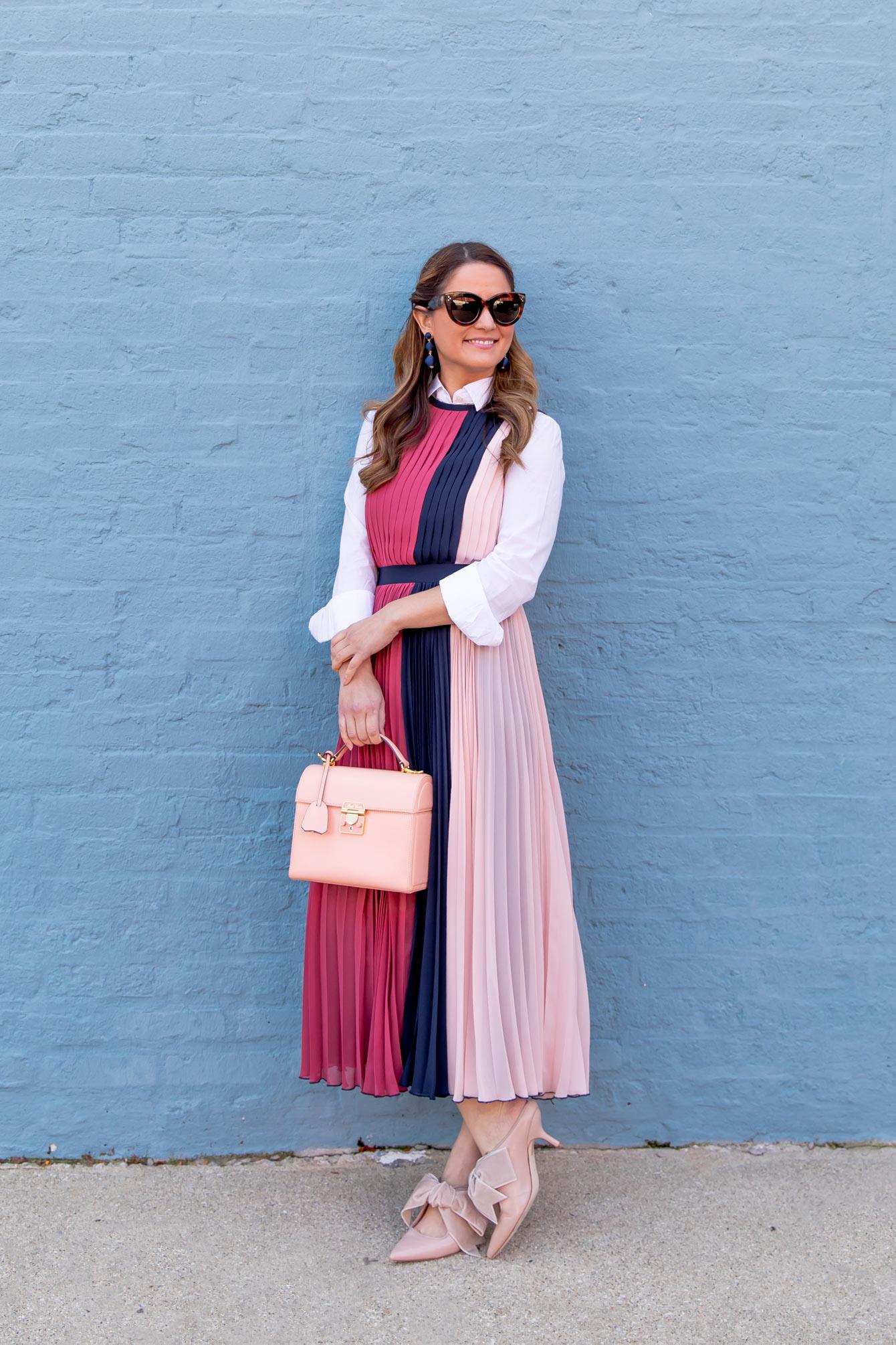 Pink Blue Colorblock Pleated Midi Dress