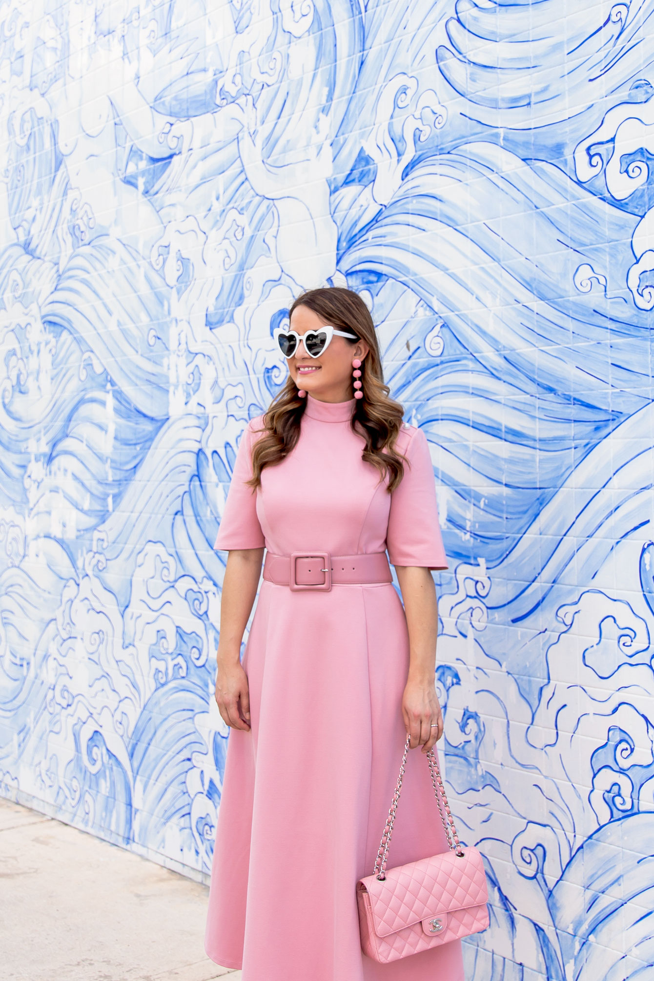 Pink Ponte Midi Dress