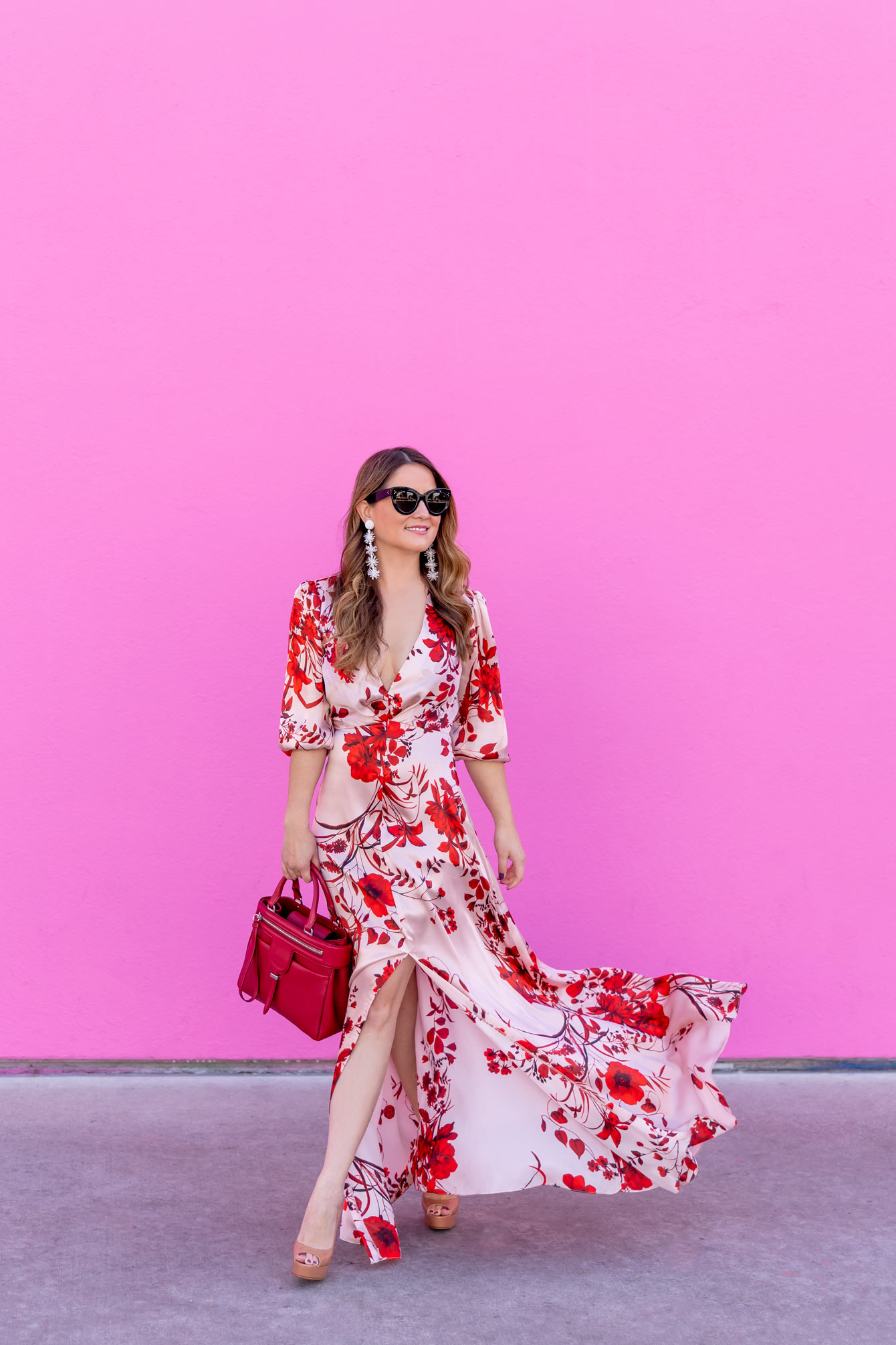 Pink Red Floral Maxi Dress