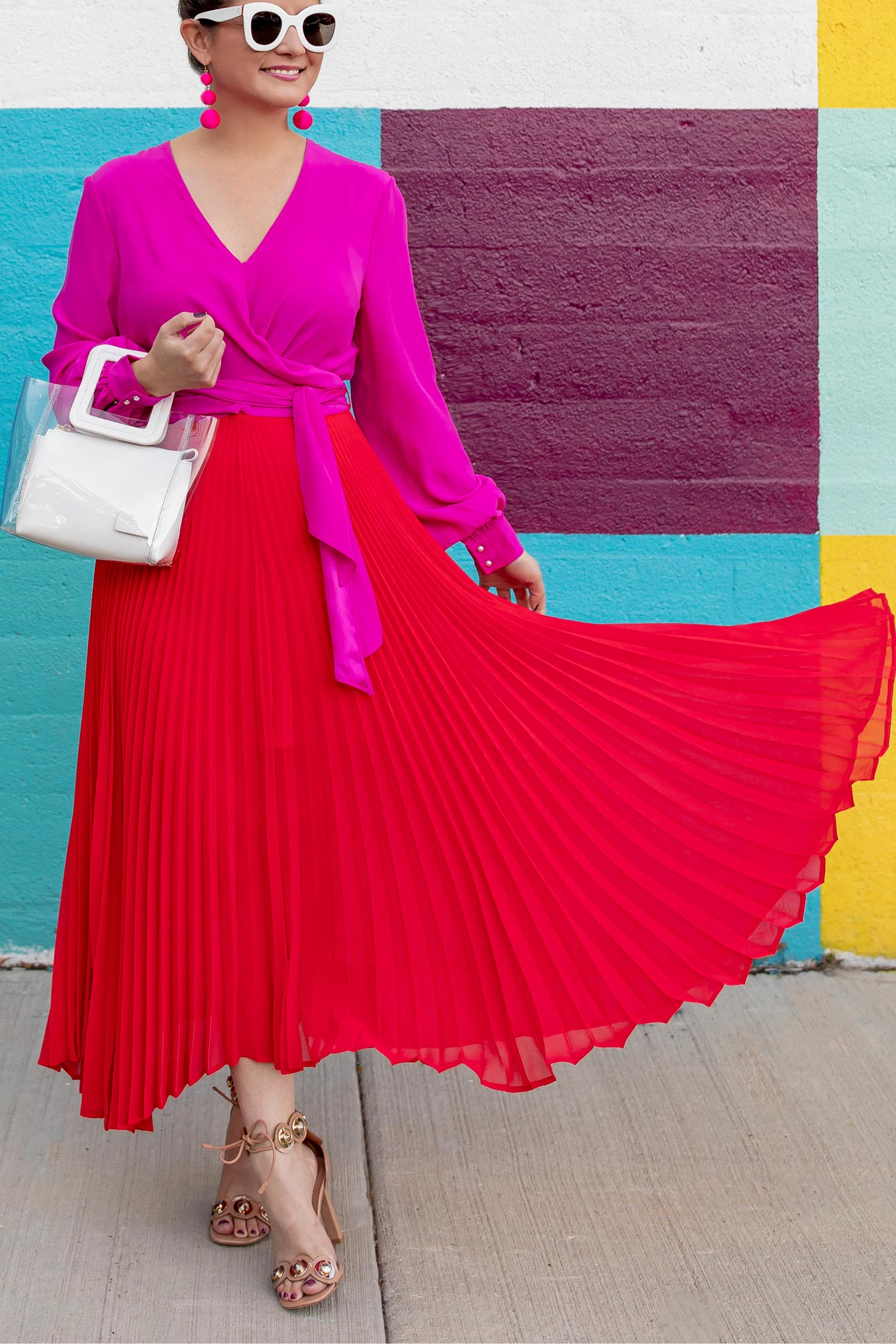 Red Pink Pleated Dress