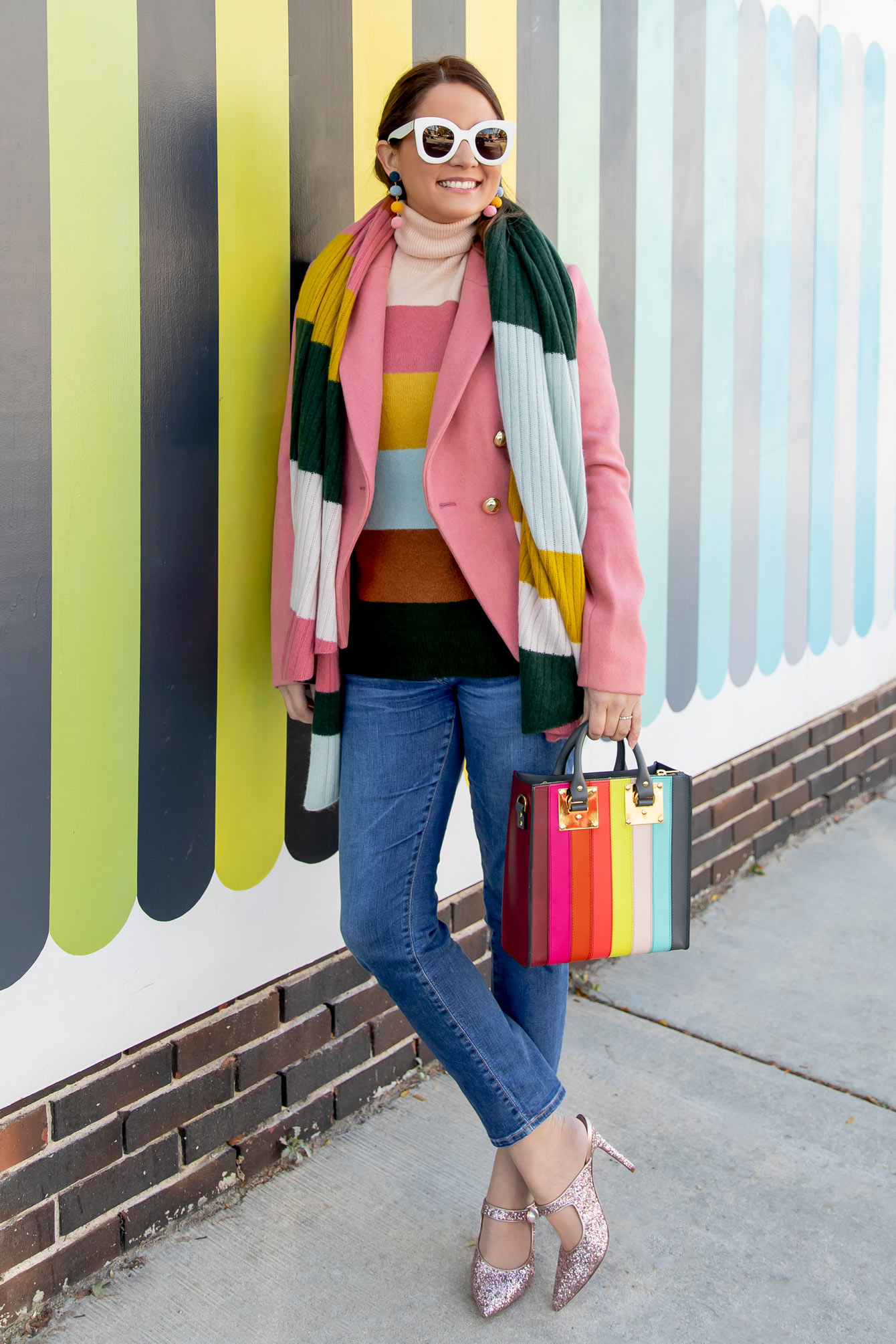 Sophie Hulme Rainbow Stripe Tote Bag
