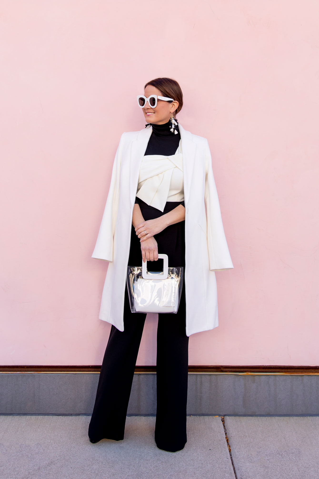 Style Charade Black White Jumpsuit