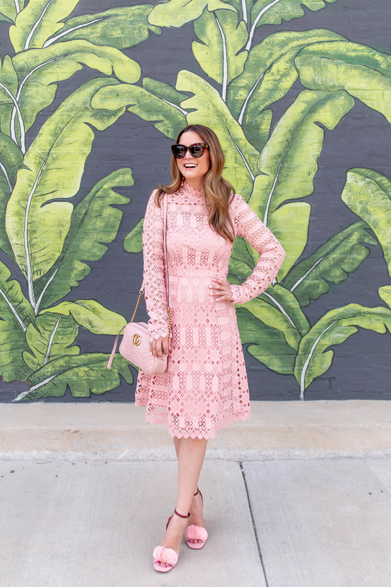 Temperley Pink Long Sleeve Lace Dress