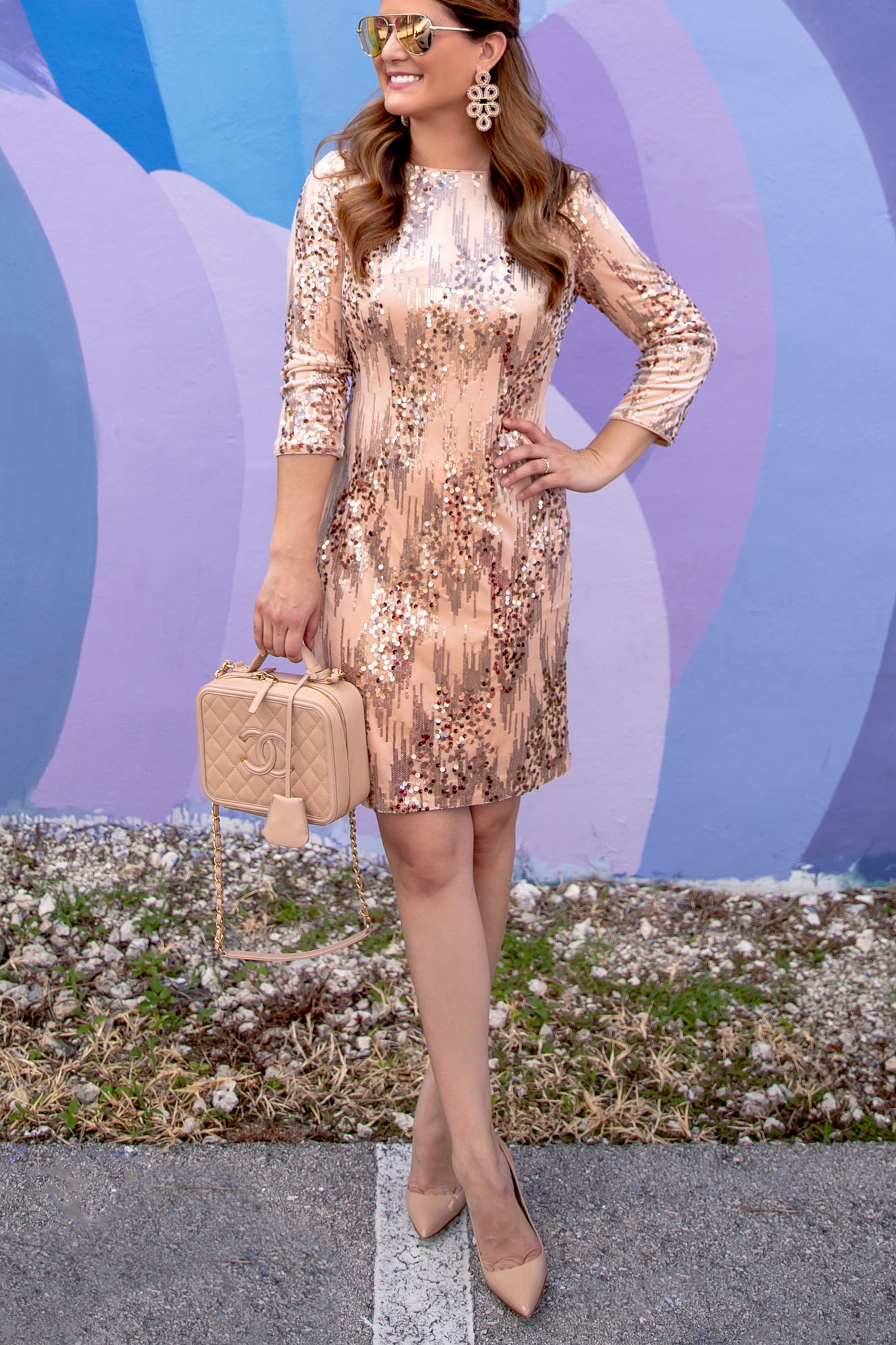 Blush Sequin Shift Dress