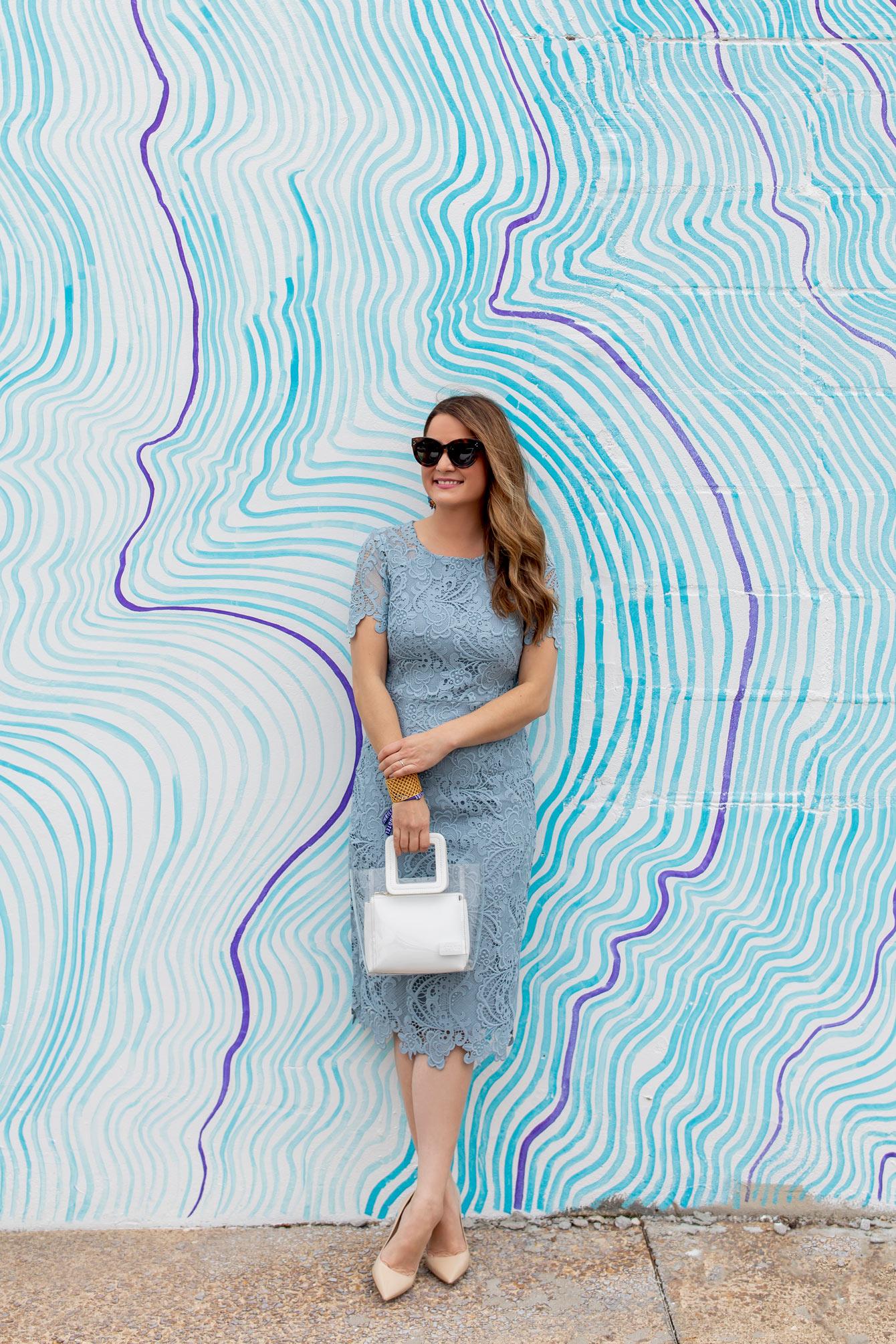 Eliza J Blue Lace Sheath Dress