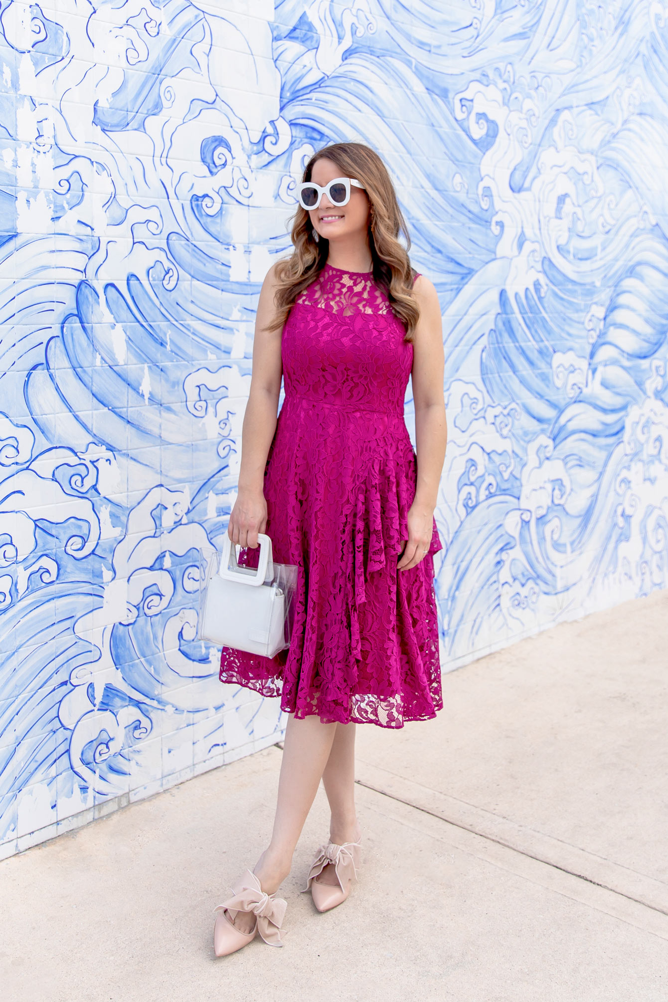 Eliza J Bright Pink Lace Dress