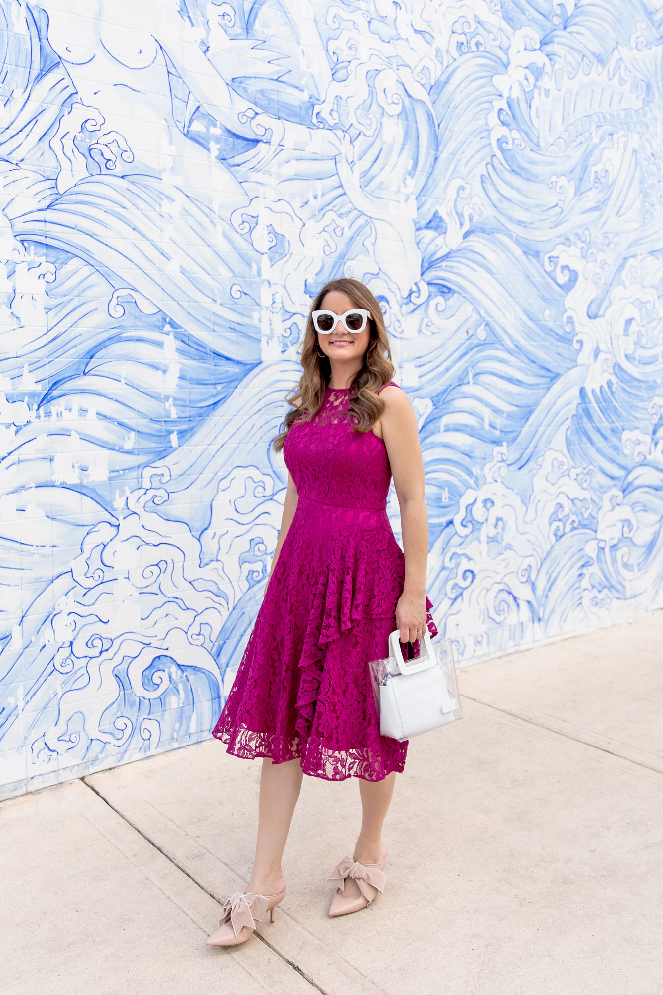 Eliza J Fuchsia Lace Ruffle Dress