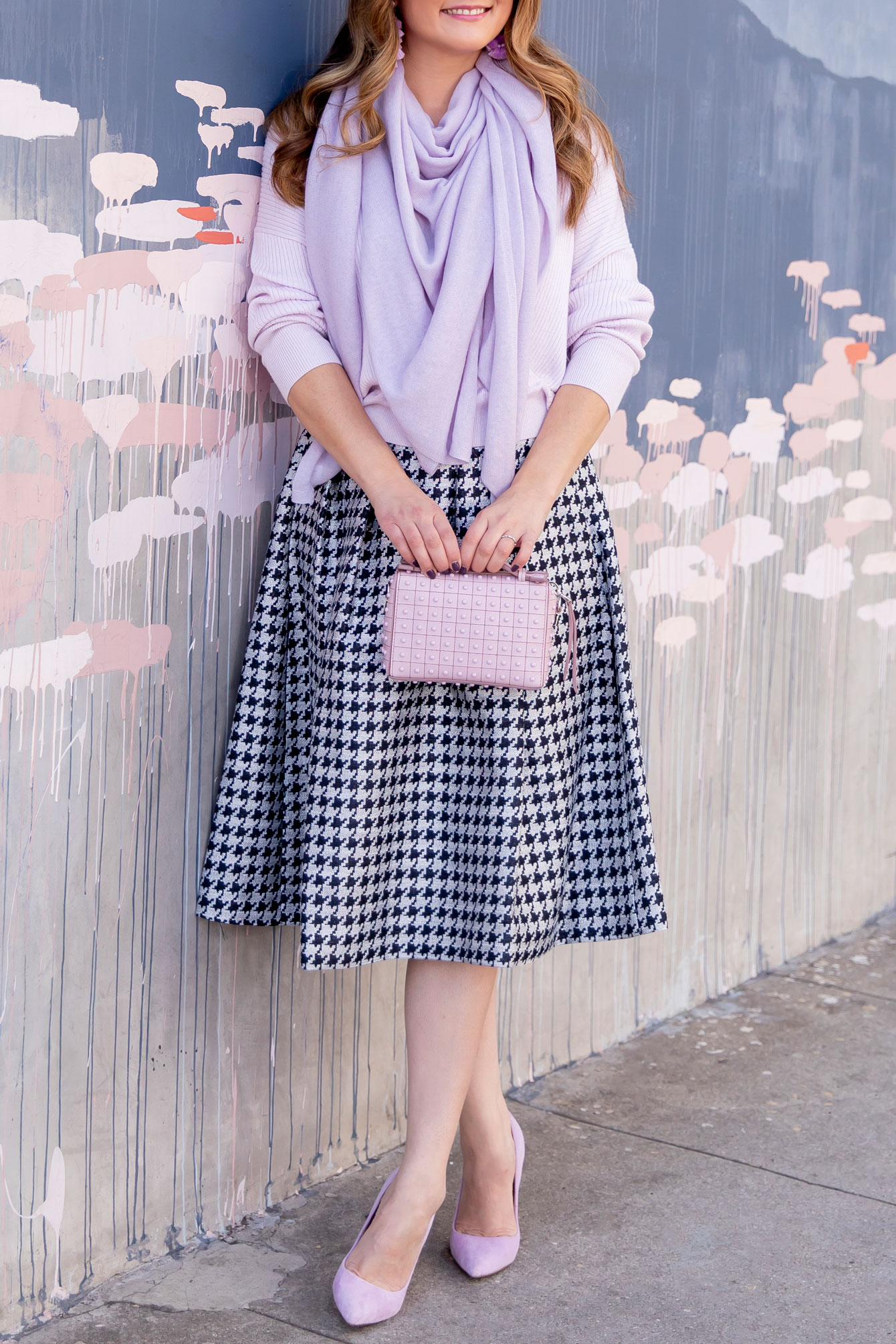Eliza J Houndstooth Midi Skirt