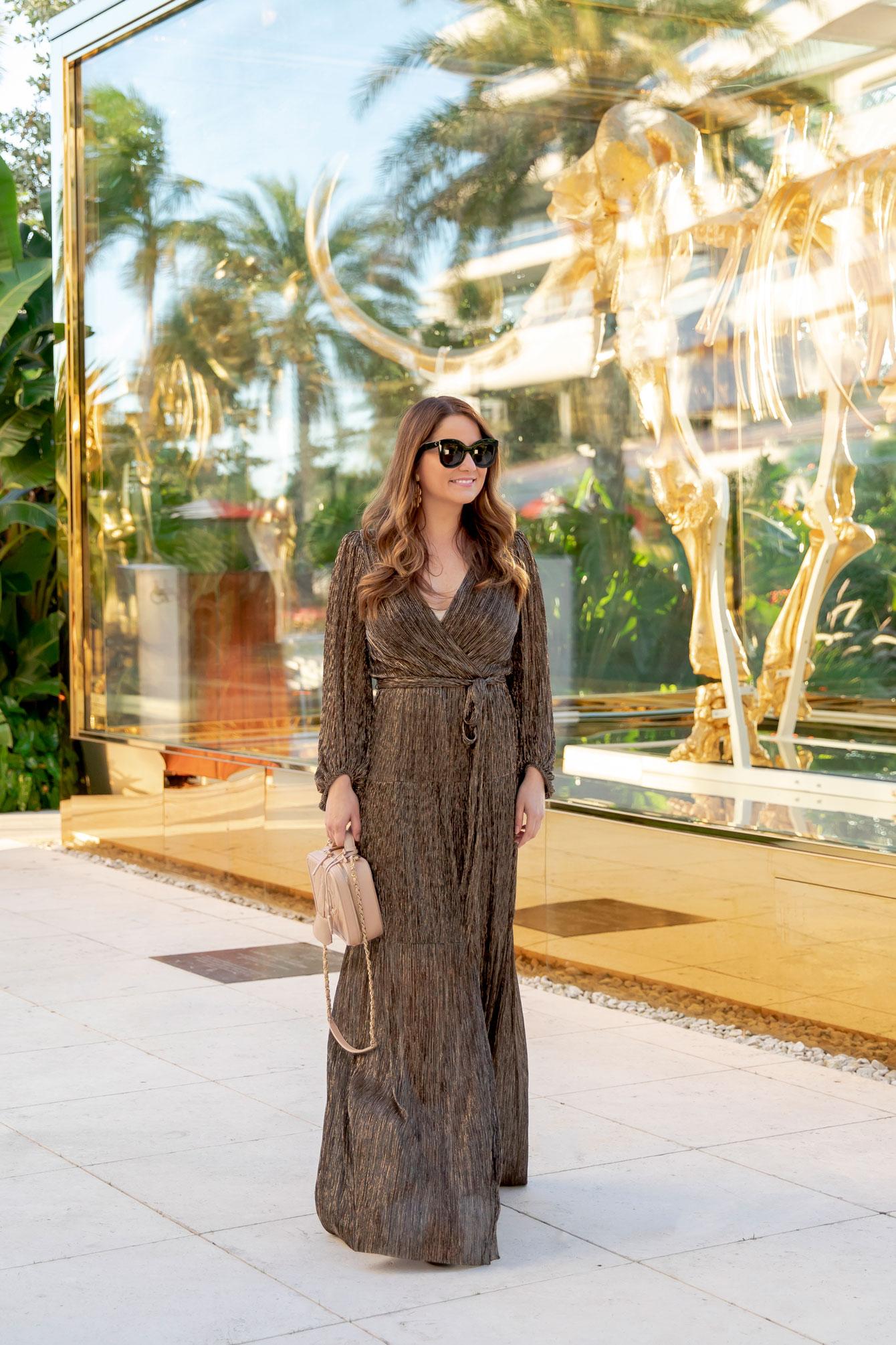 Eliza J Metallic Maxi Wrap Dress
