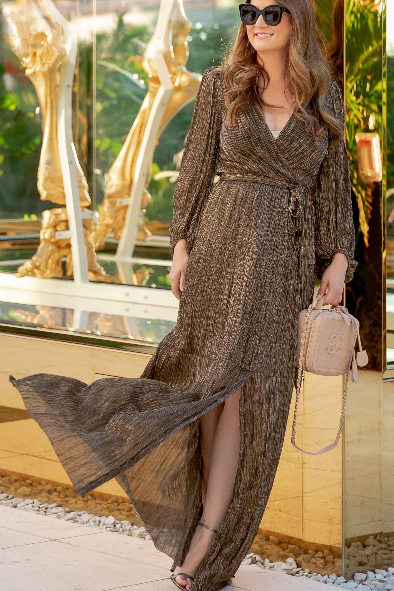 Eliza J Metallic Wrap Dress