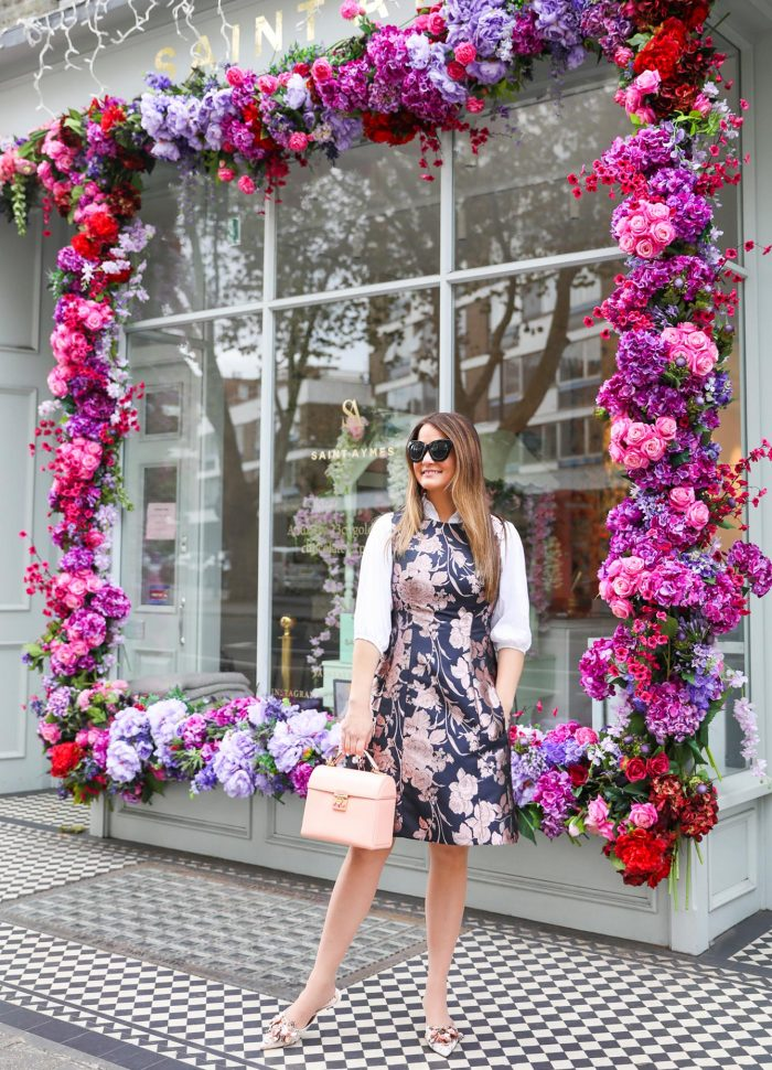 A Classic Navy Floral Jacquard Dress