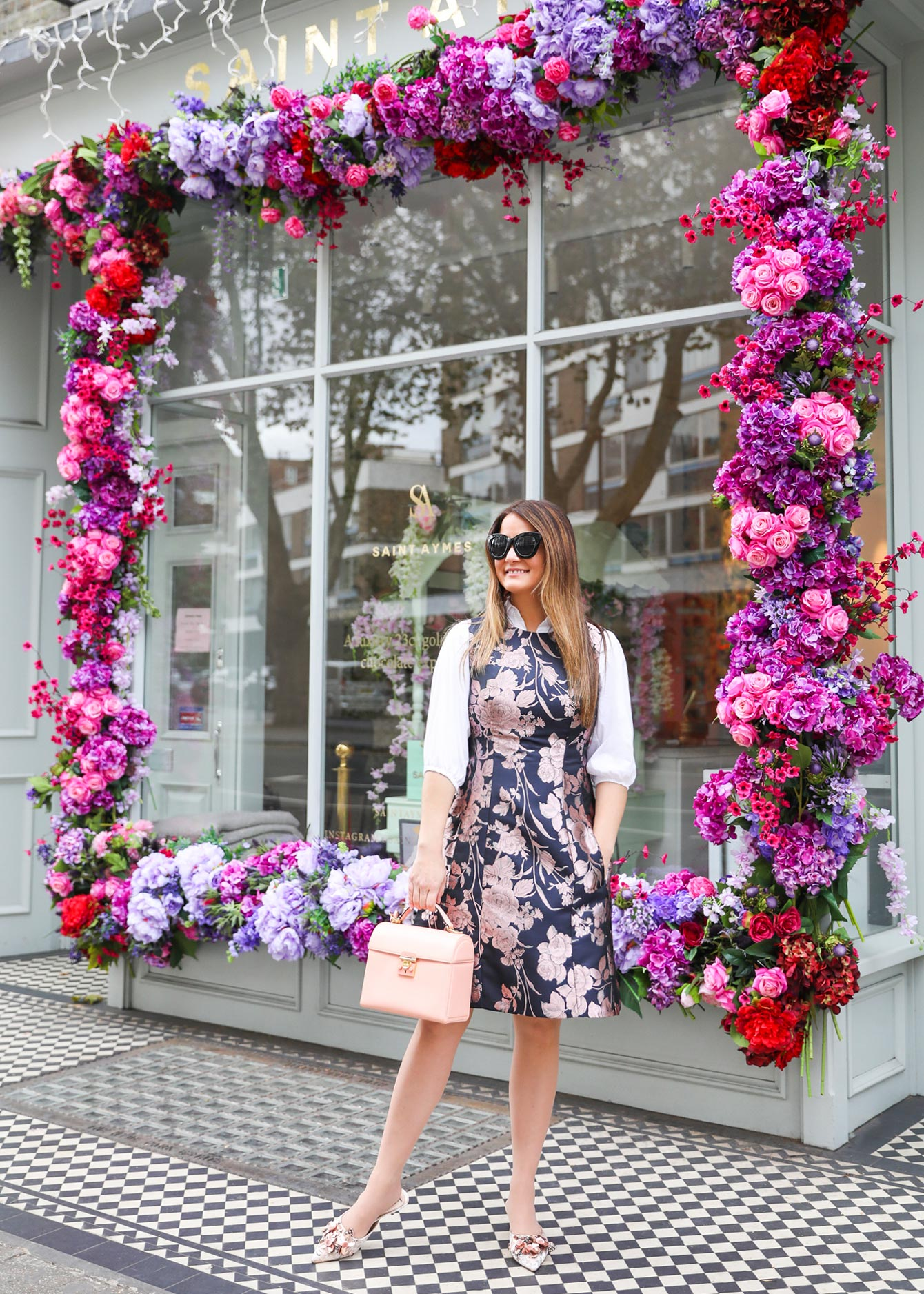 Eliza J Navy Floral Dress London