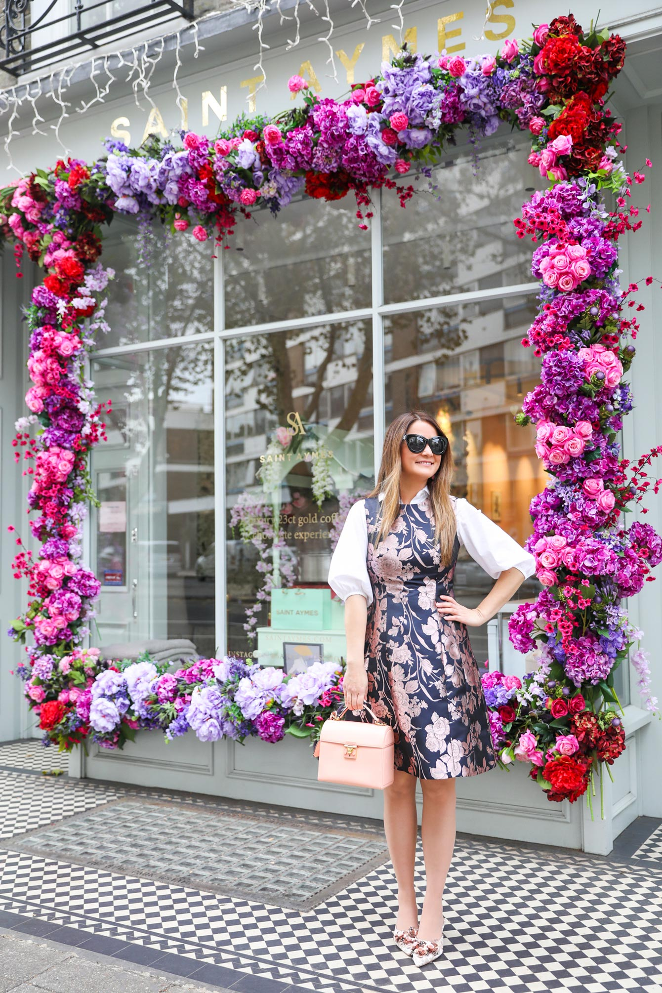 Eliza J Navy Floral Jacquard Dress