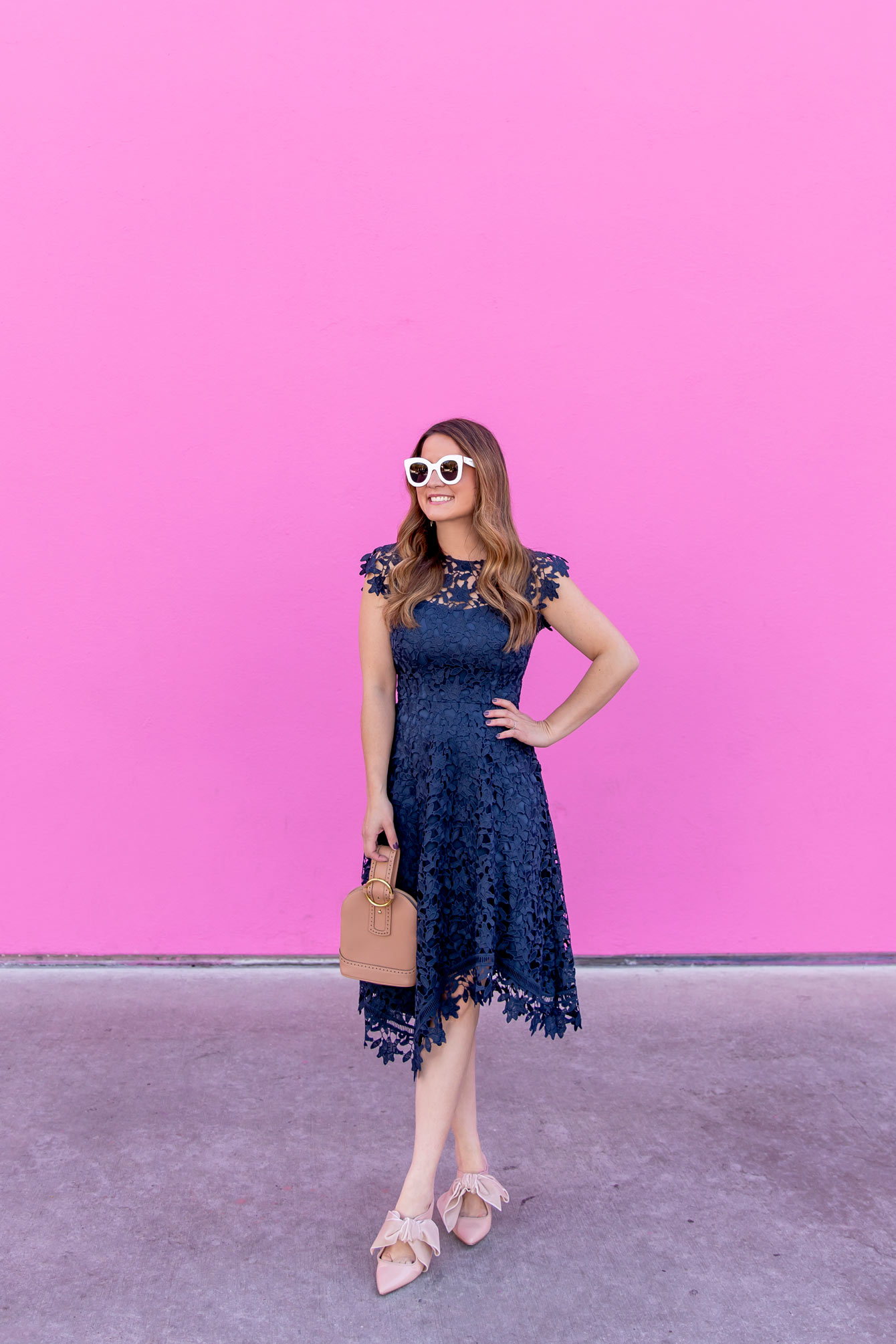 Eliza J Navy Lace Asymmetrical Hem Dress