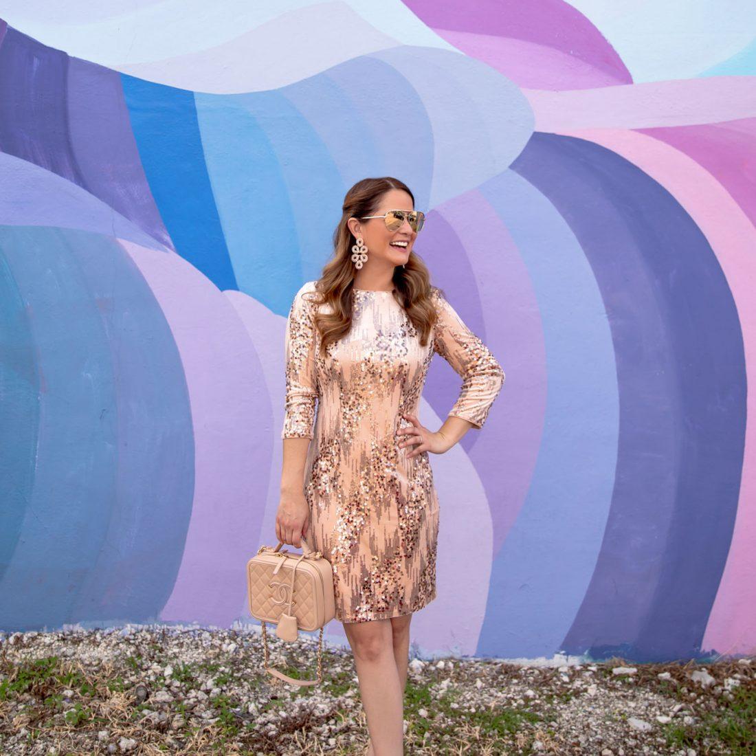 Eliza J Rose Gold Sequin Dress